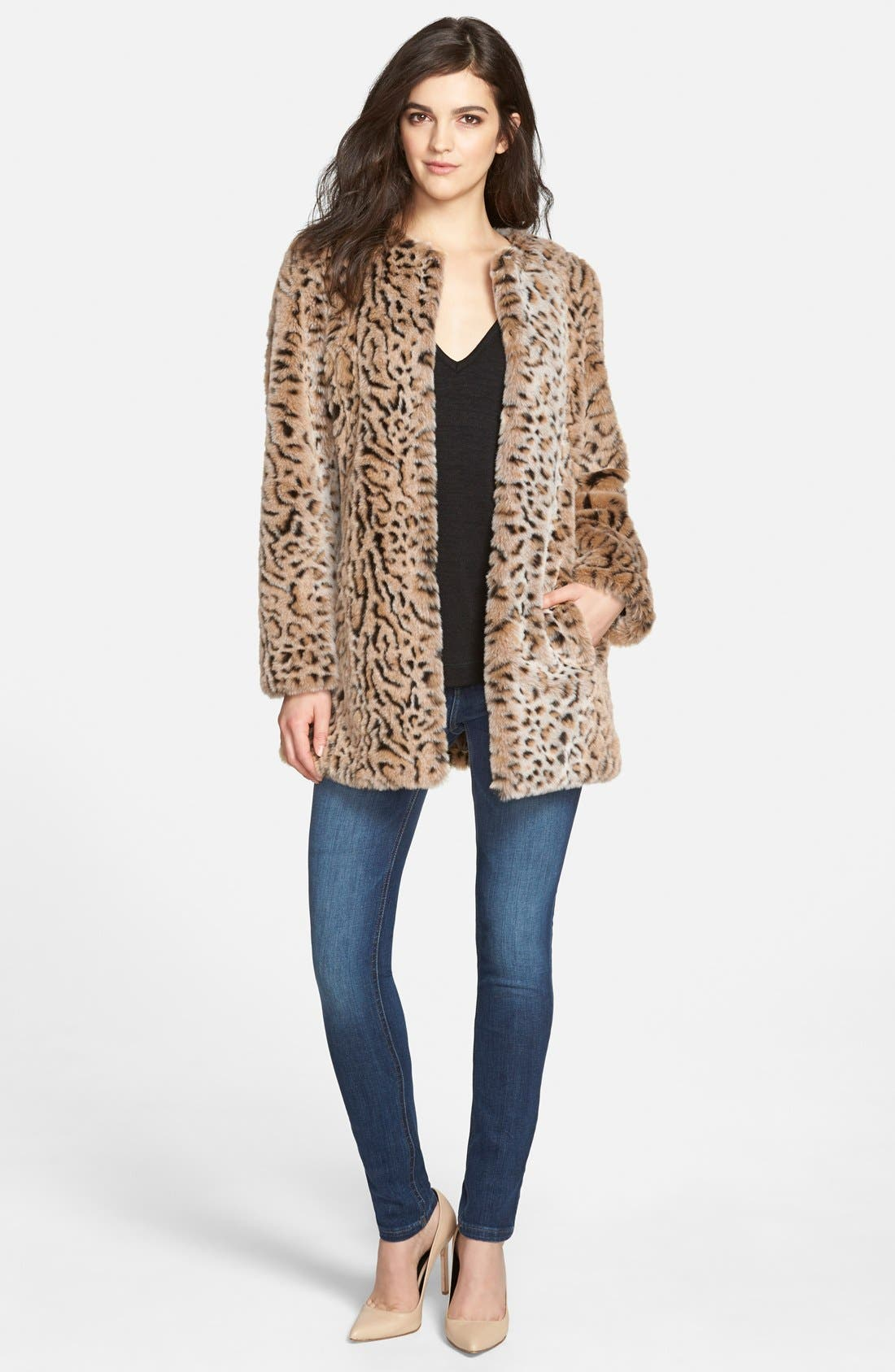 Faux Fur Leopard Print Coat,                             Alternate thumbnail 3, color,                             200