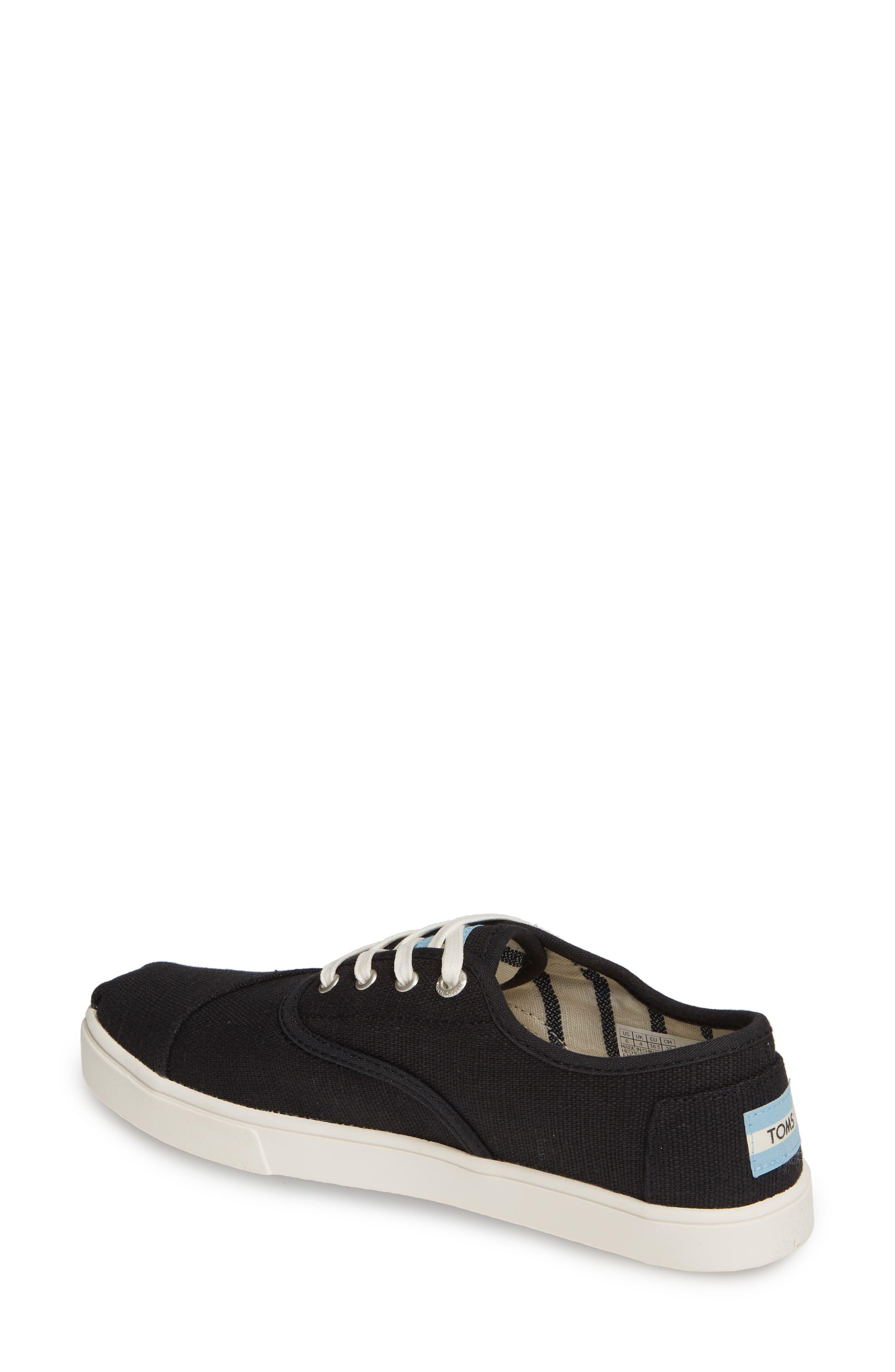 TOMS,                             Cordones Sneaker,                             Alternate thumbnail 2, color,                             BLACK HERITAGE CANVAS