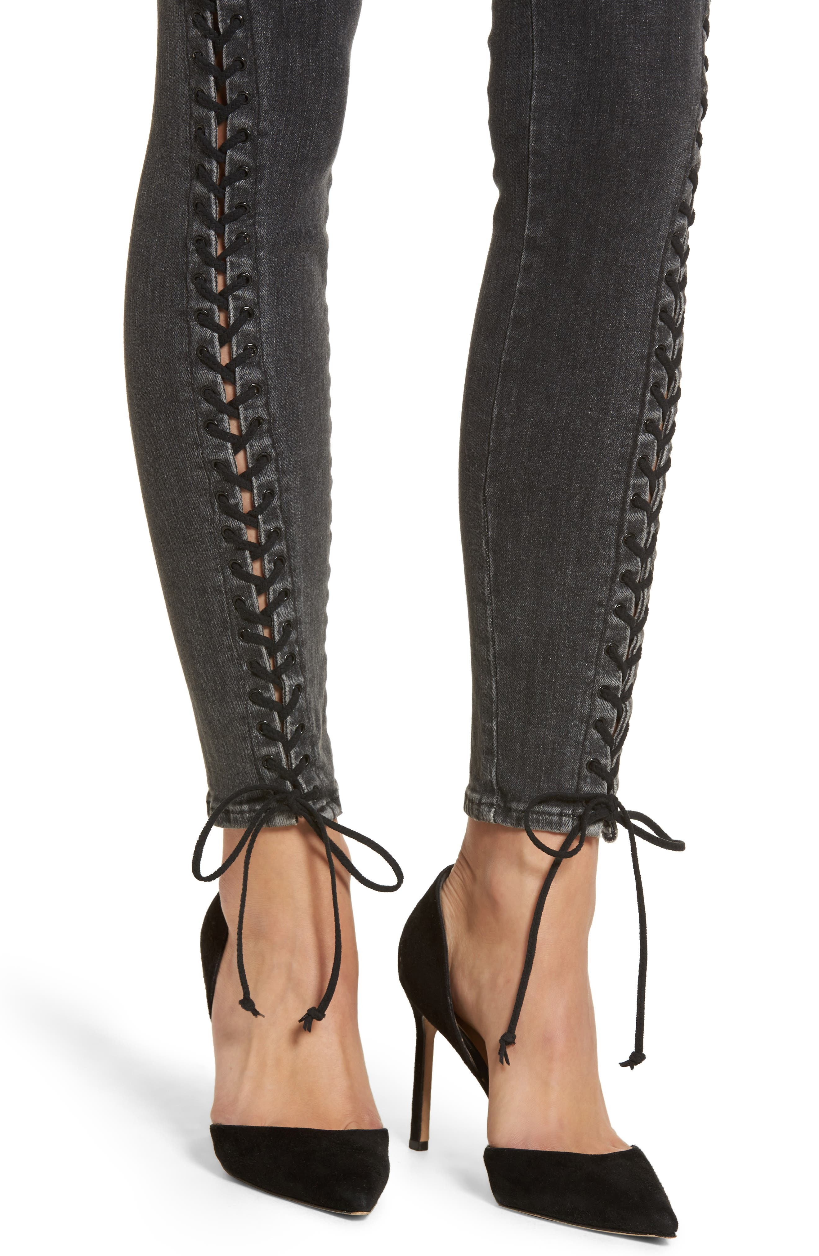 Stevie Lace-Up Skinny Jeans,                             Alternate thumbnail 4, color,