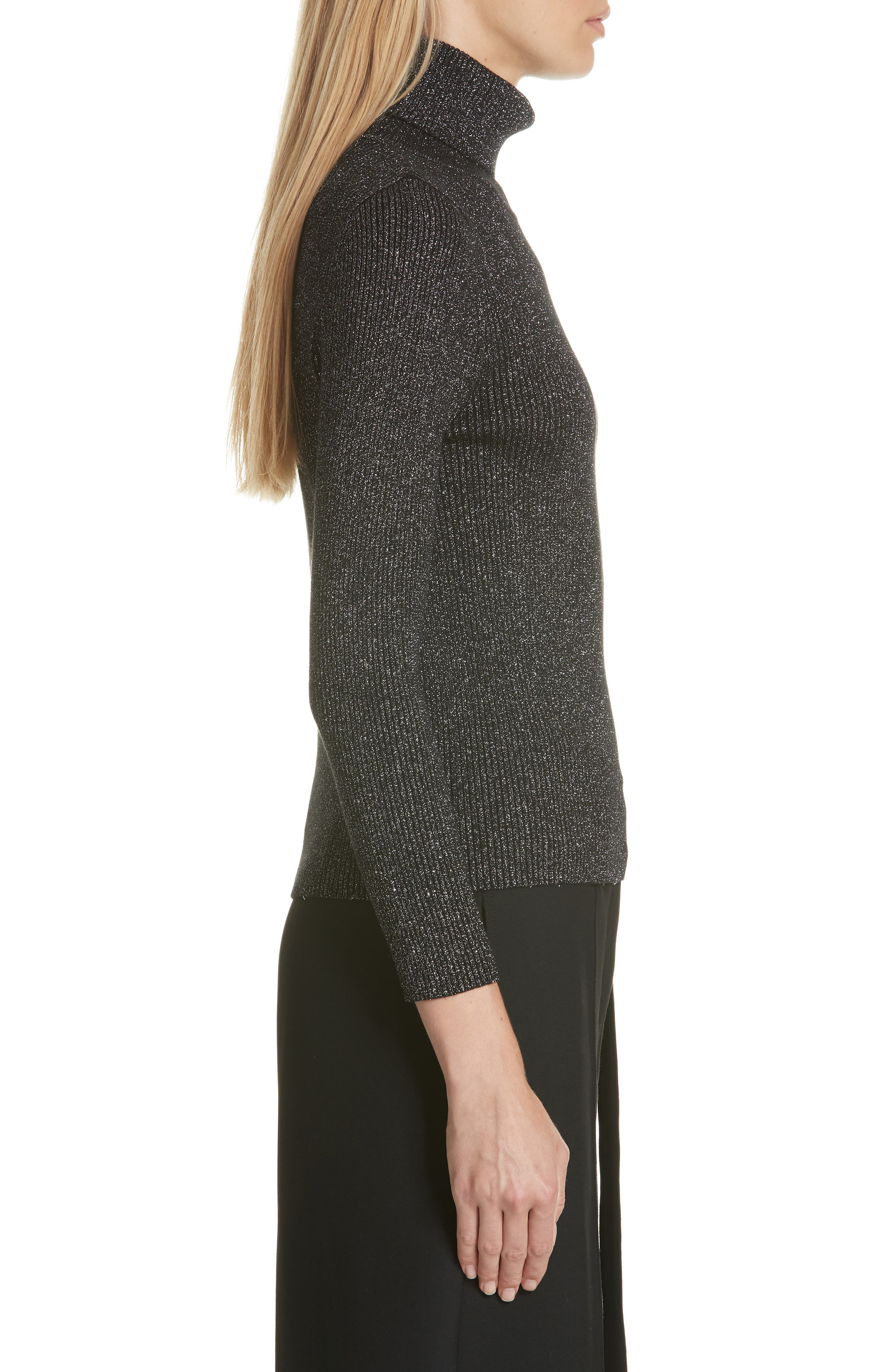 Metallic Ribbed Turtleneck Sweater,                             Alternate thumbnail 3, color,                             BLACK/ SILVER