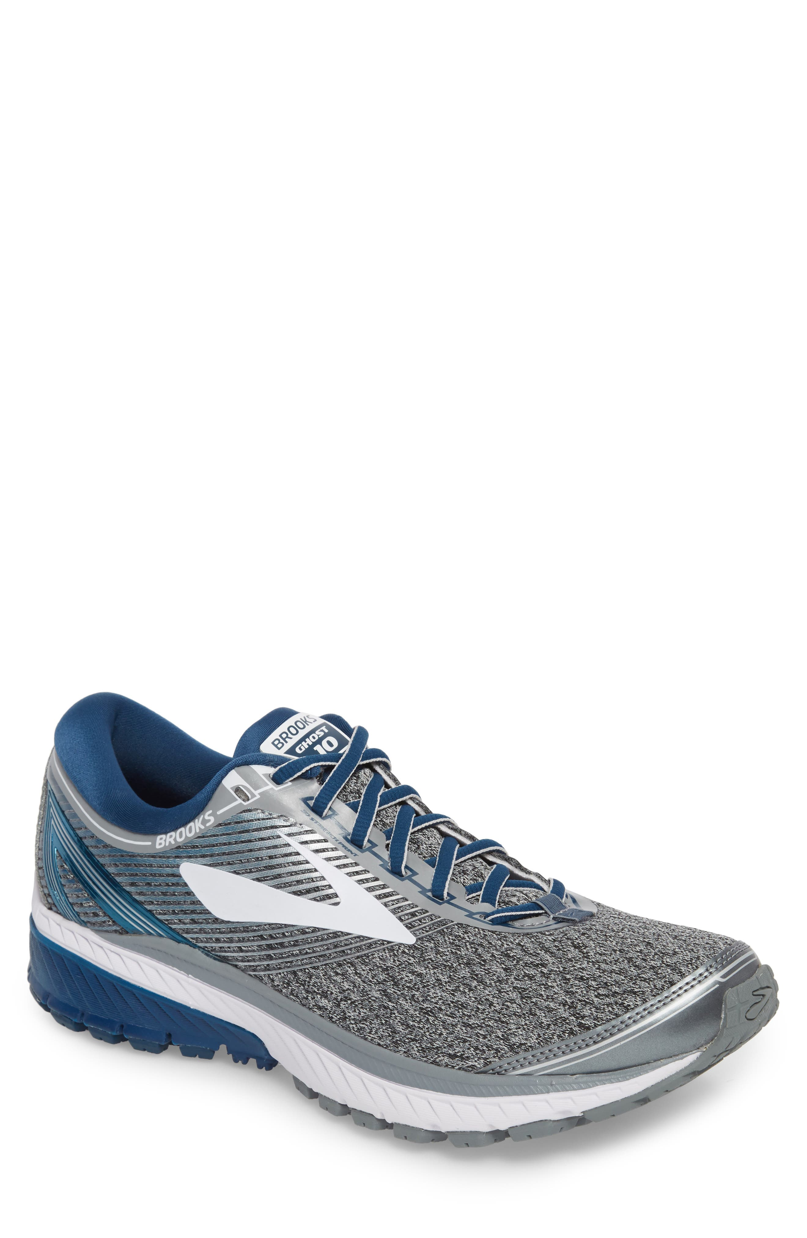 Ghost 10 Running Shoe,                         Main,                         color, SILVER/ BLUE/ WHITE
