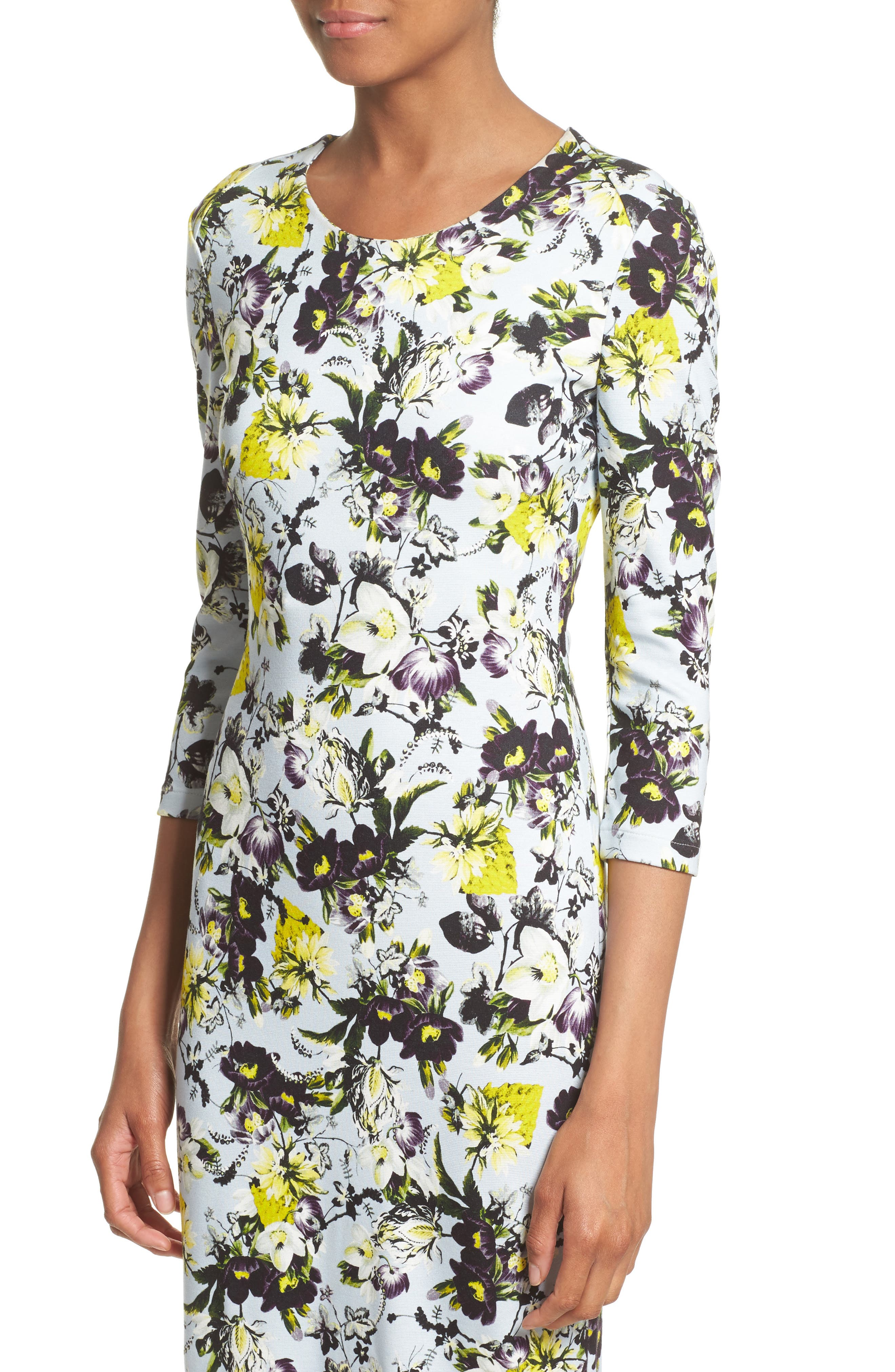 Floral Jersey Sheath Dress,                             Alternate thumbnail 4, color,                             700