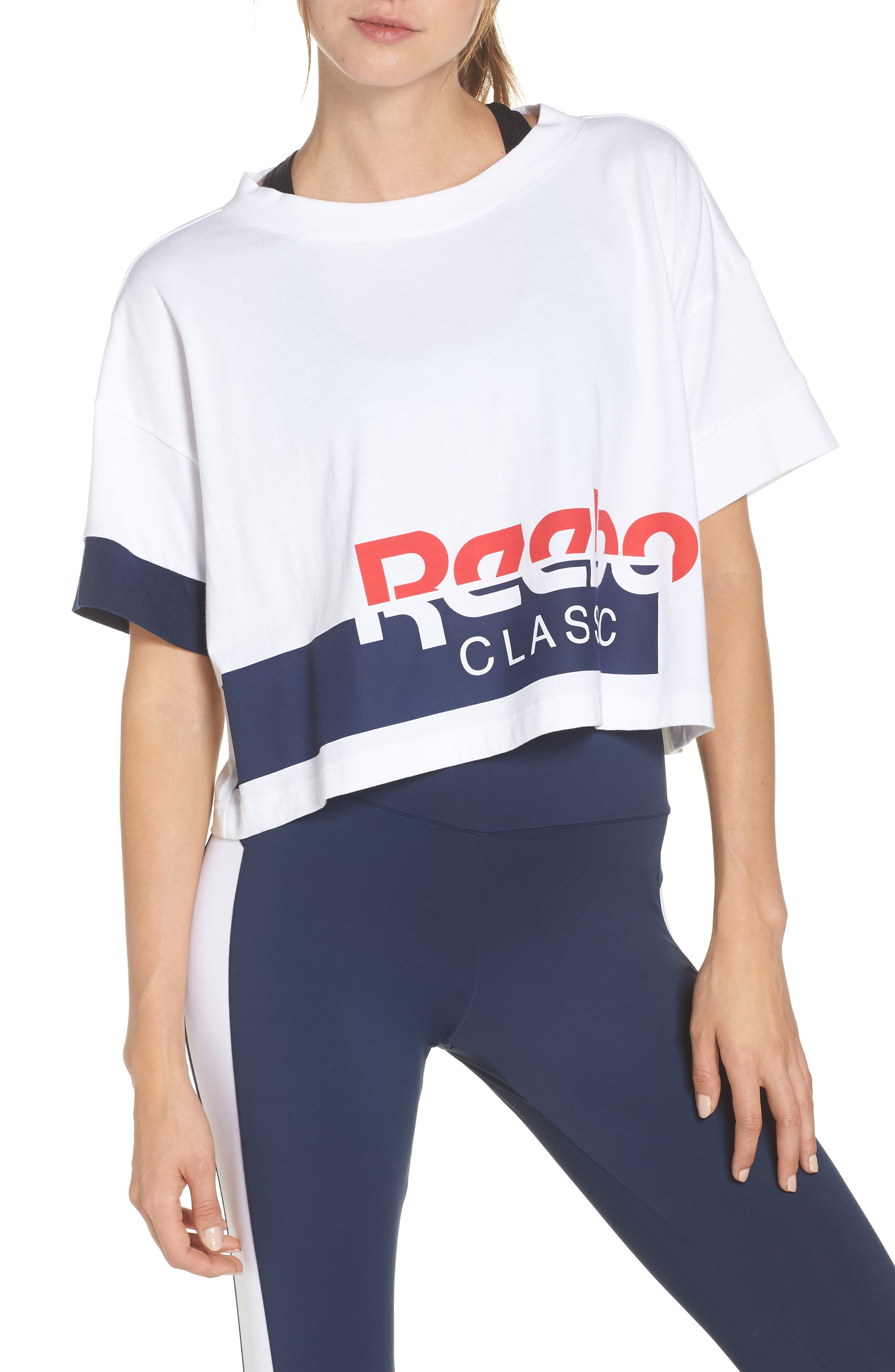 AC Cropped Tee,                             Main thumbnail 1, color,                             WHITE/ COLLEGIATE NAVY