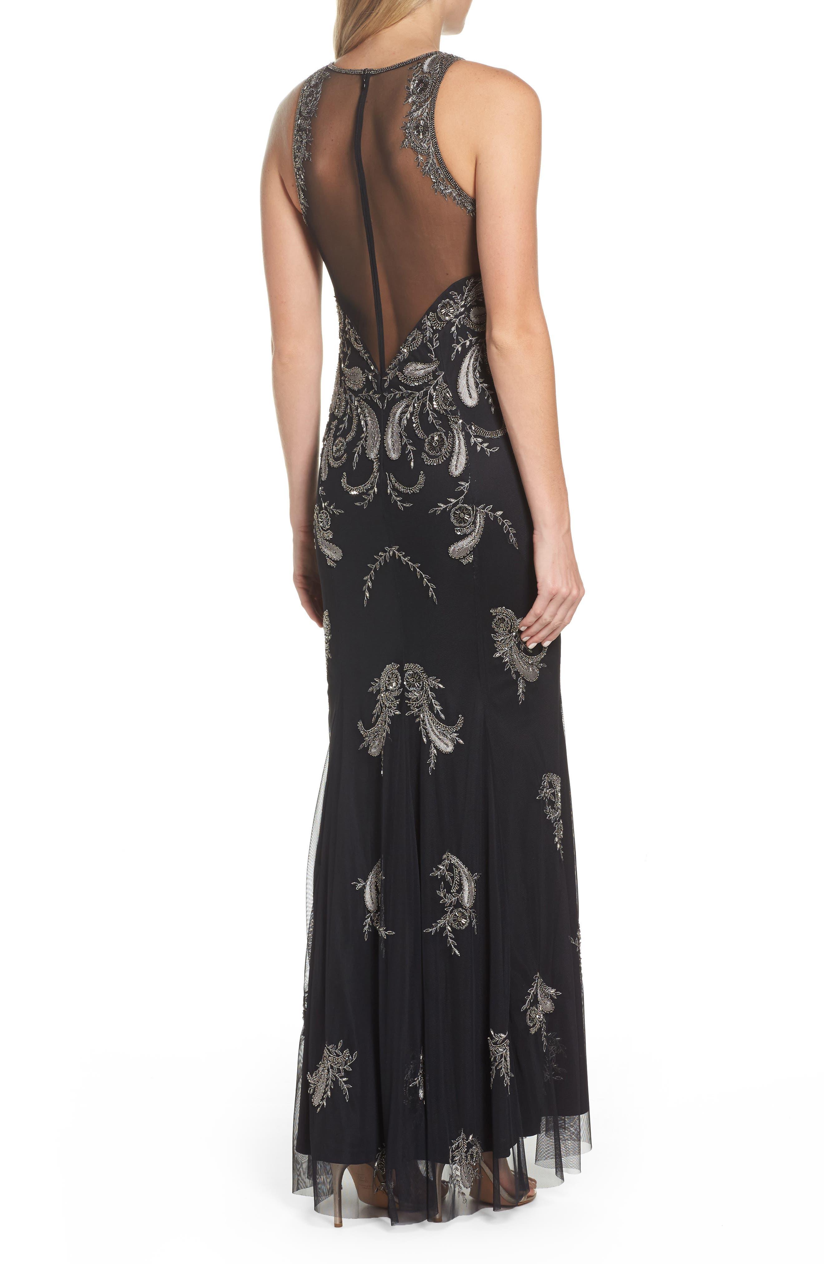 Embellished Sheer Back Maxi Dress,                             Alternate thumbnail 2, color,