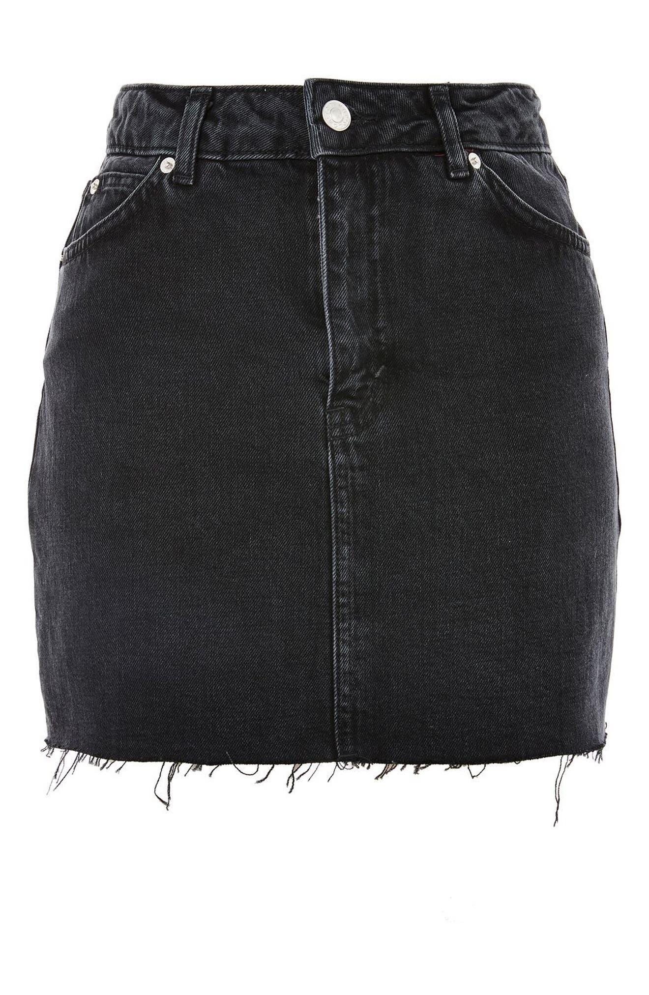 Frayed Hem Denim Miniskirt,                             Alternate thumbnail 7, color,