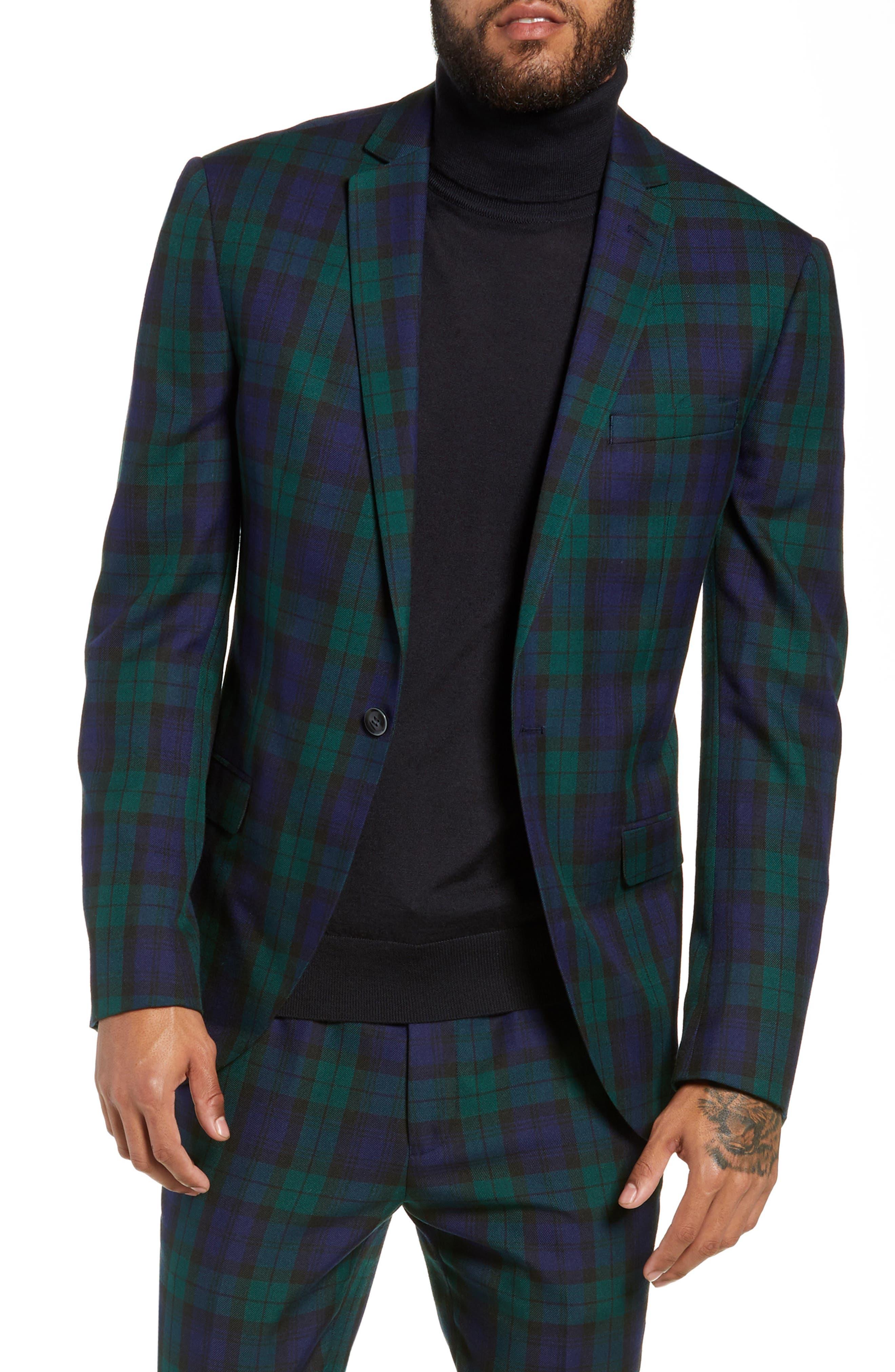 TOPMAN Plaid Slim Fit Suit Jacket in Navy Multi