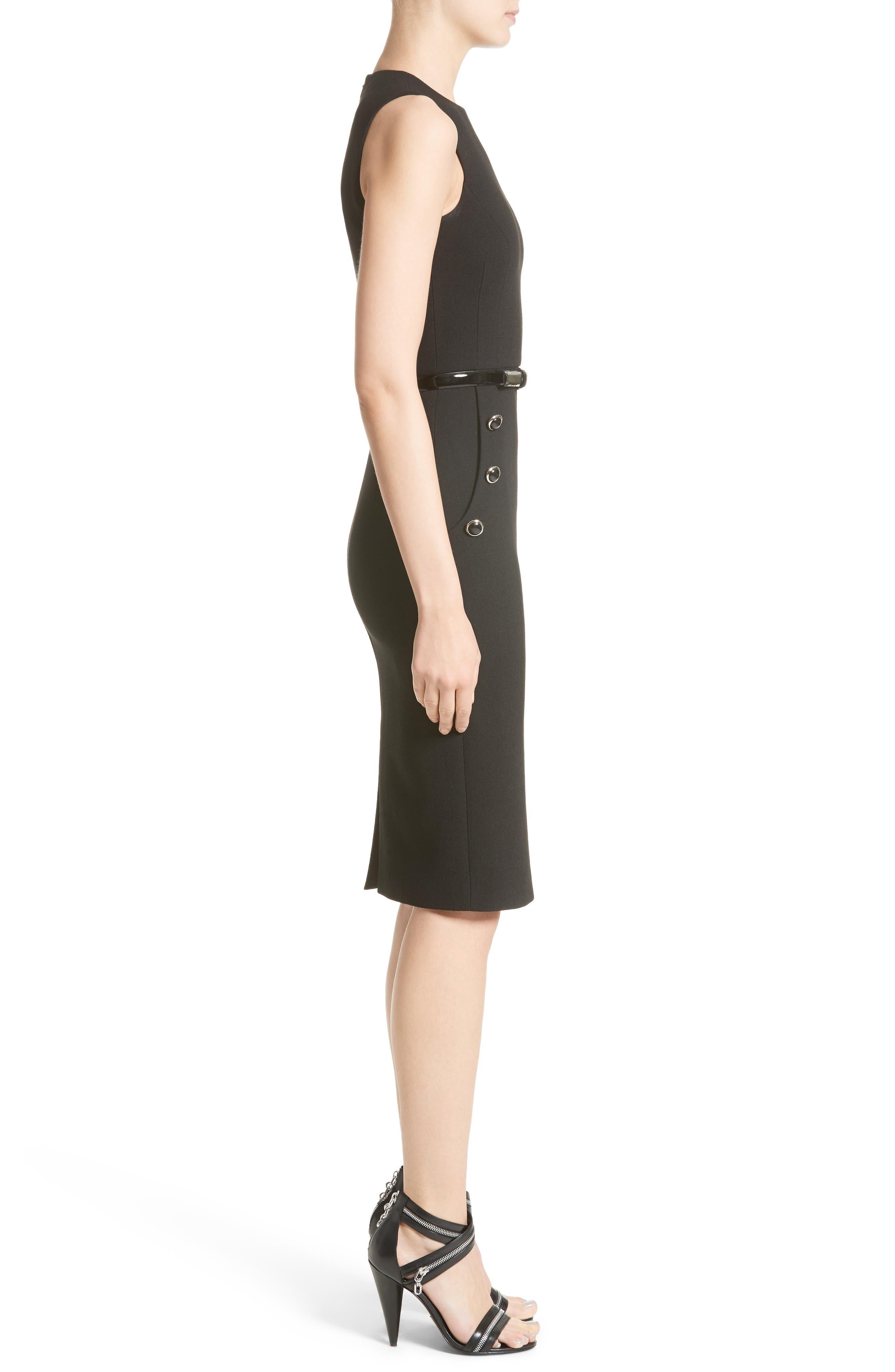 Belted Stretch Bouclé Crepe Sheath Dress,                             Alternate thumbnail 3, color,                             001