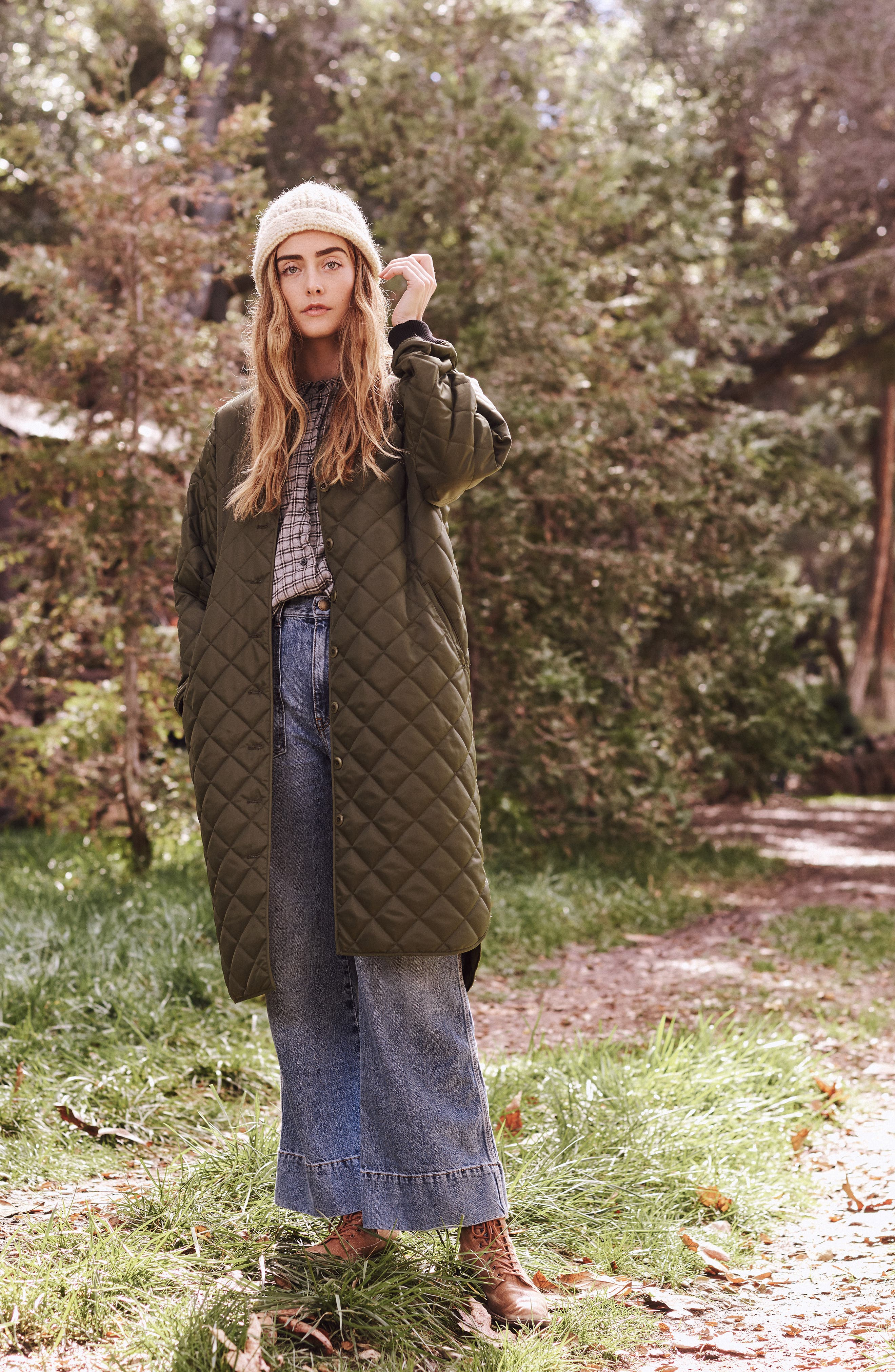 Quilted Long Coat,                             Alternate thumbnail 8, color,                             ARMY