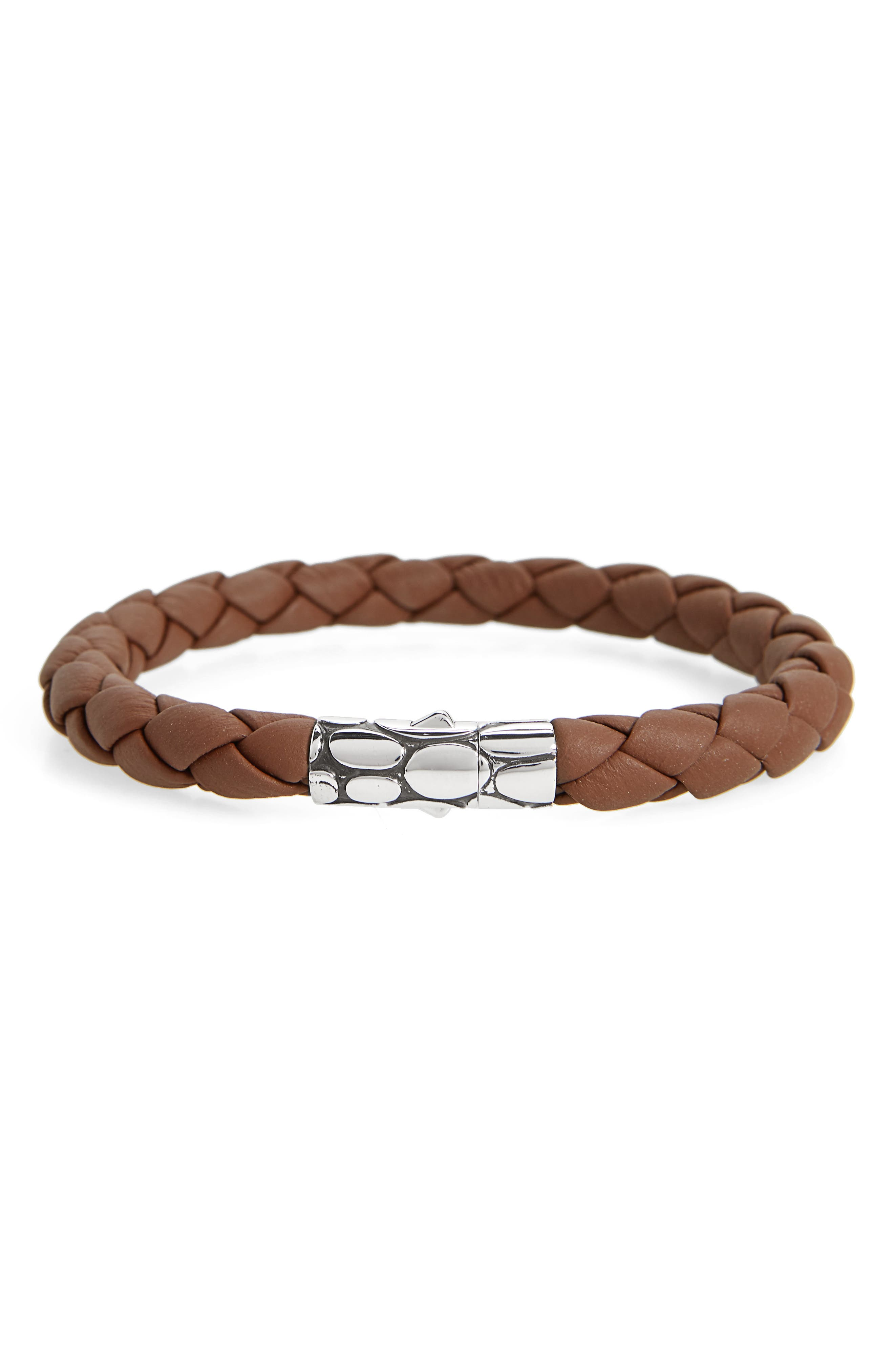 'Kali' Leather Bracelet,                             Main thumbnail 1, color,                             SILVER/ BROWN