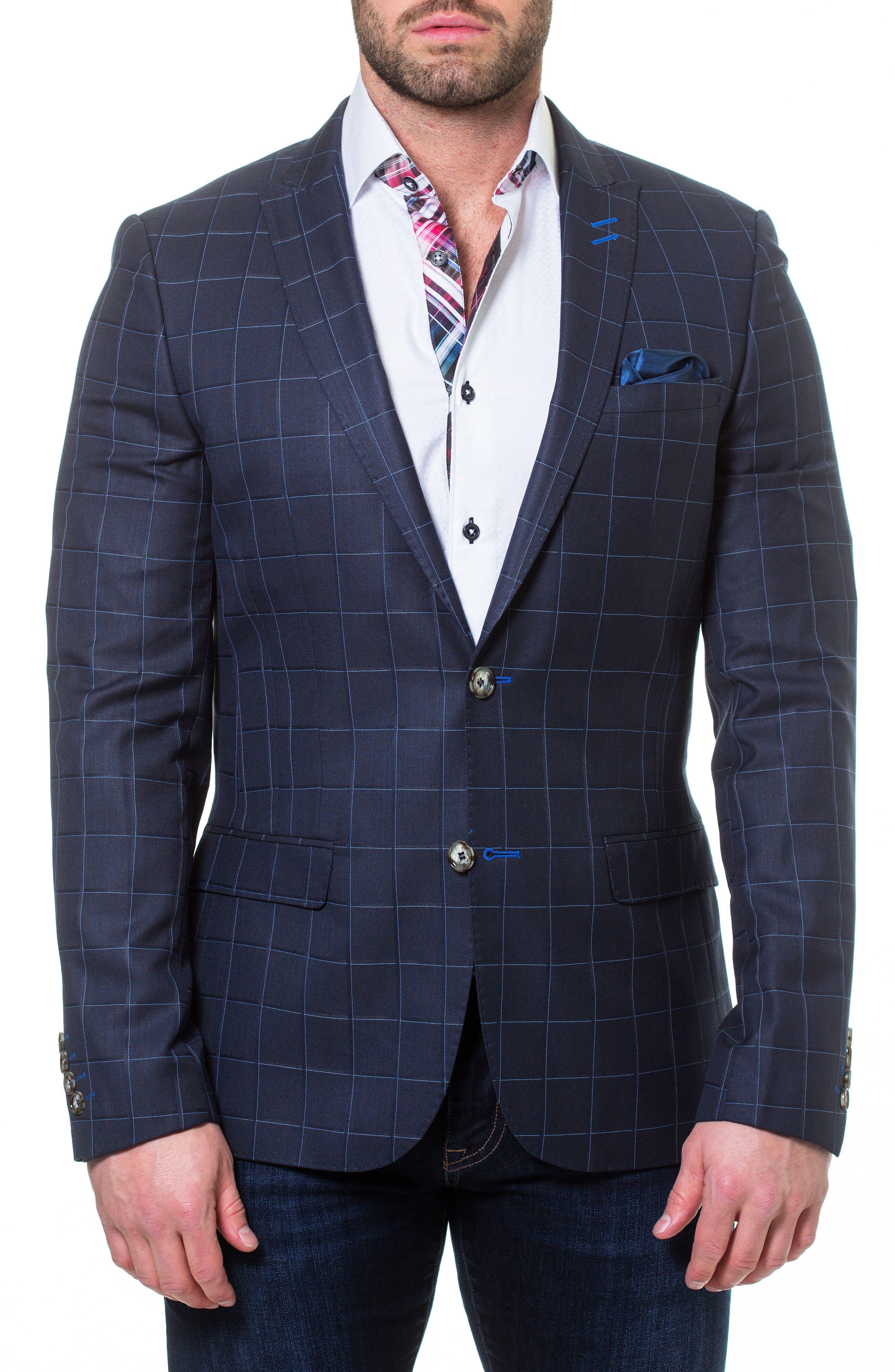 Descartes Check Linen & Cotton Blend Sport Coat,                         Main,                         color,