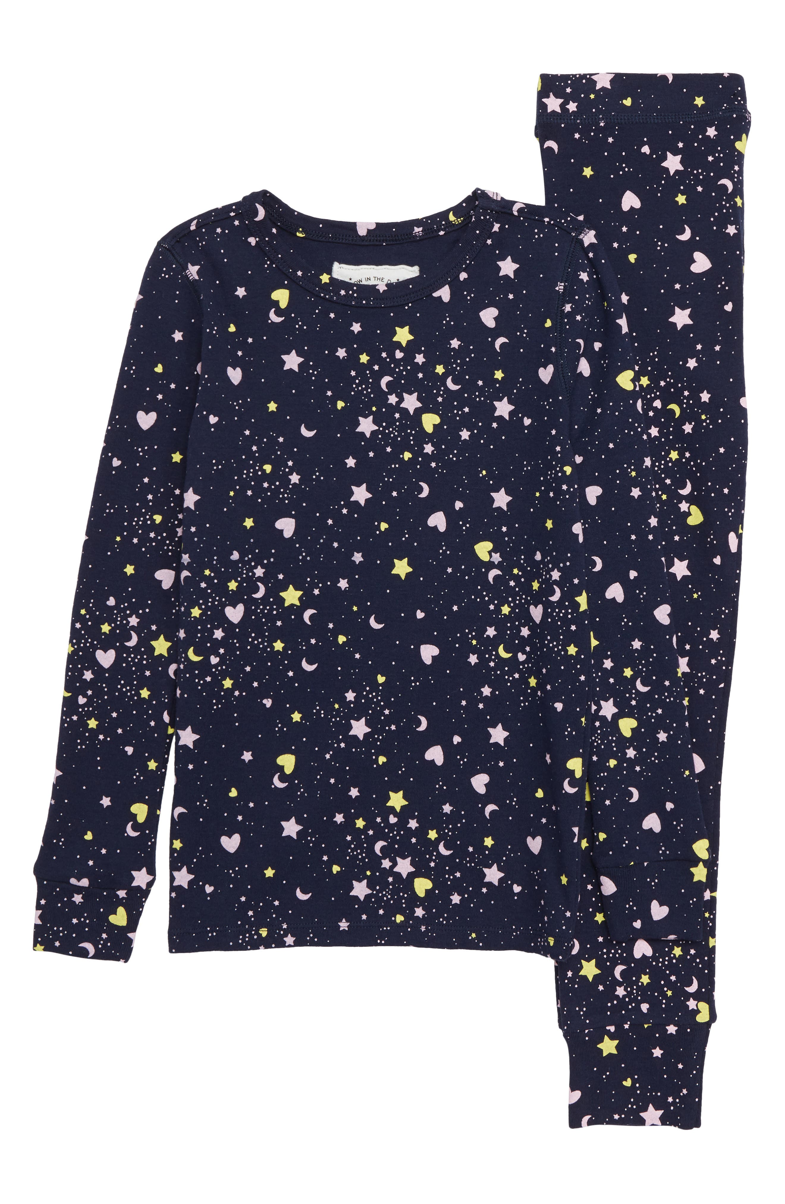Hearts & Stars Fitted Two-Piece Pajamas,                         Main,                         color, 400
