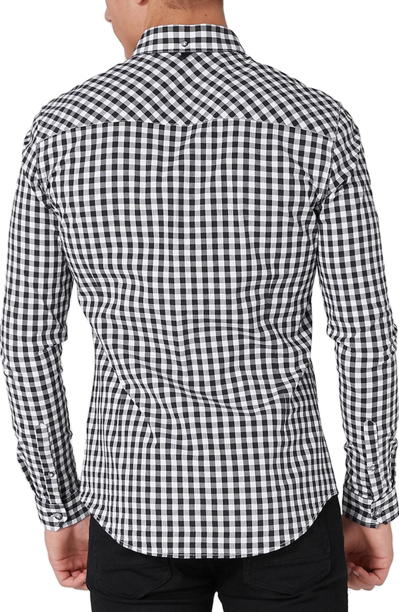 Muscle Fit Gingham Sport Shirt,                             Alternate thumbnail 2, color,                             001