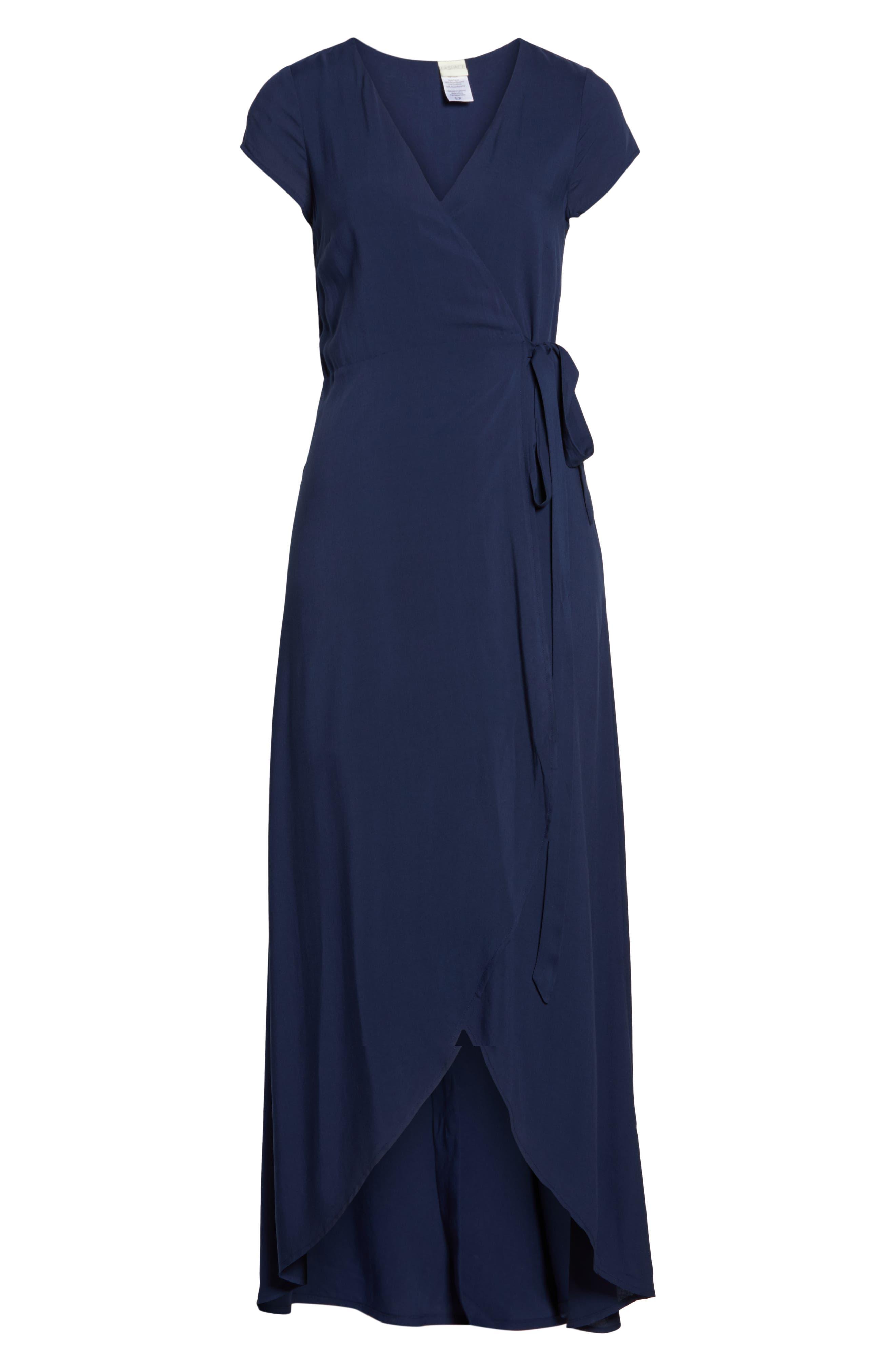 Goa Cover-Up Maxi Wrap Dress,                             Alternate thumbnail 6, color,                             MIDNIGHT BLUE