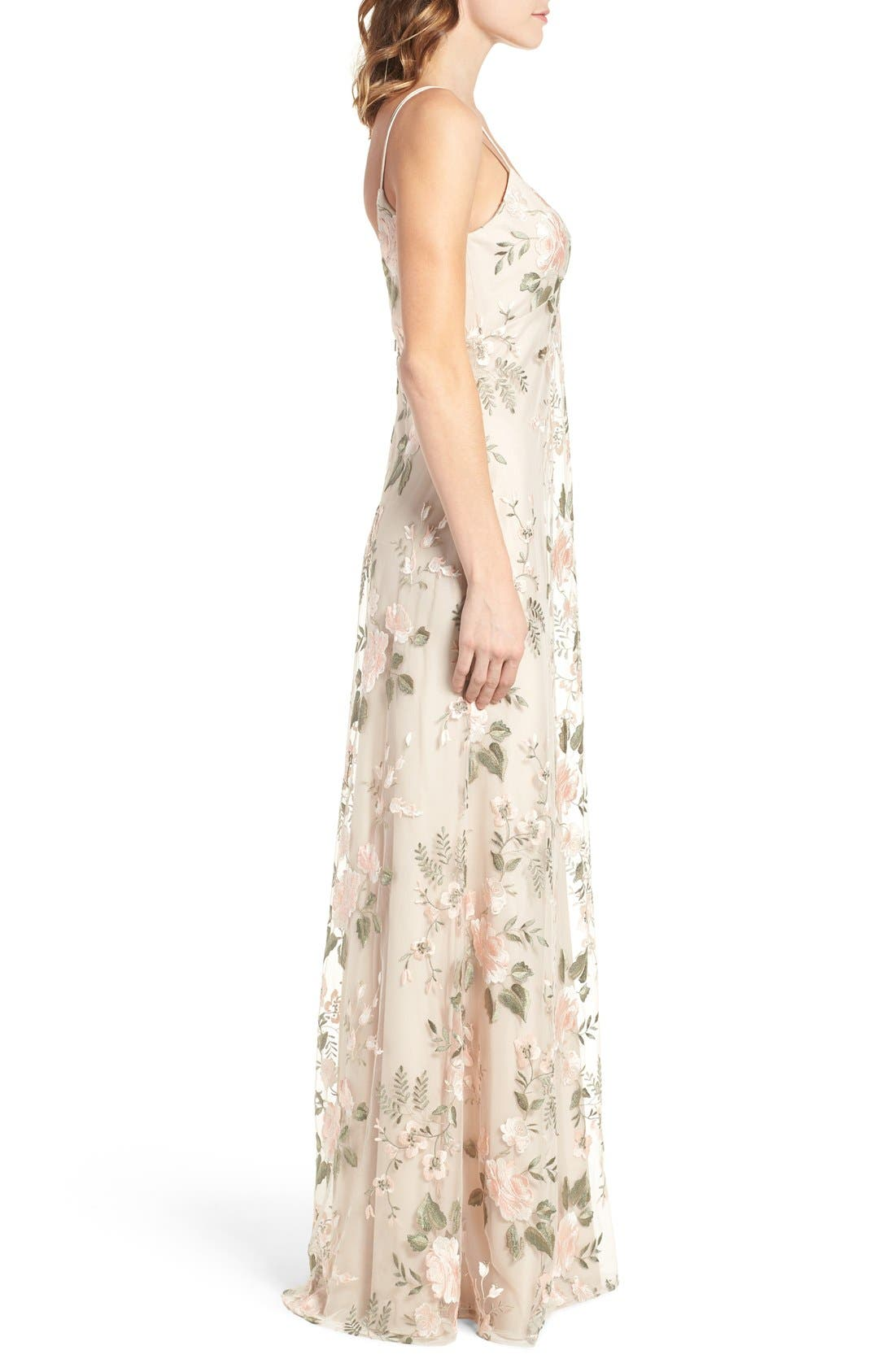 Julianna Embroidered Gown,                             Alternate thumbnail 5, color,                             BLUSH SAND DUNE
