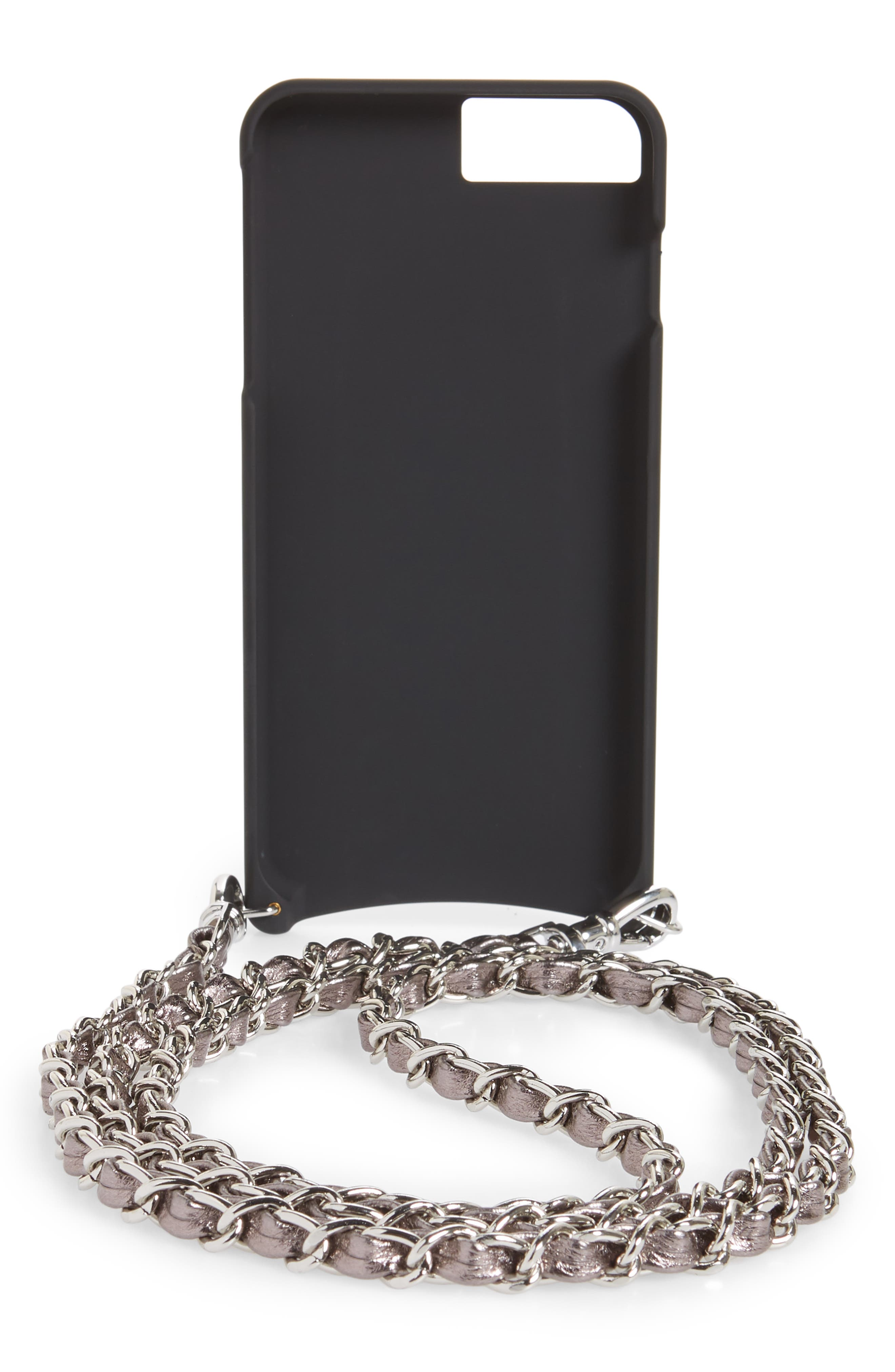 Lucy Faux Leather iPhone 7/8 & 7/8 Plus Crossbody Case,                             Alternate thumbnail 3, color,                             METALLIC ASH/ SILVER