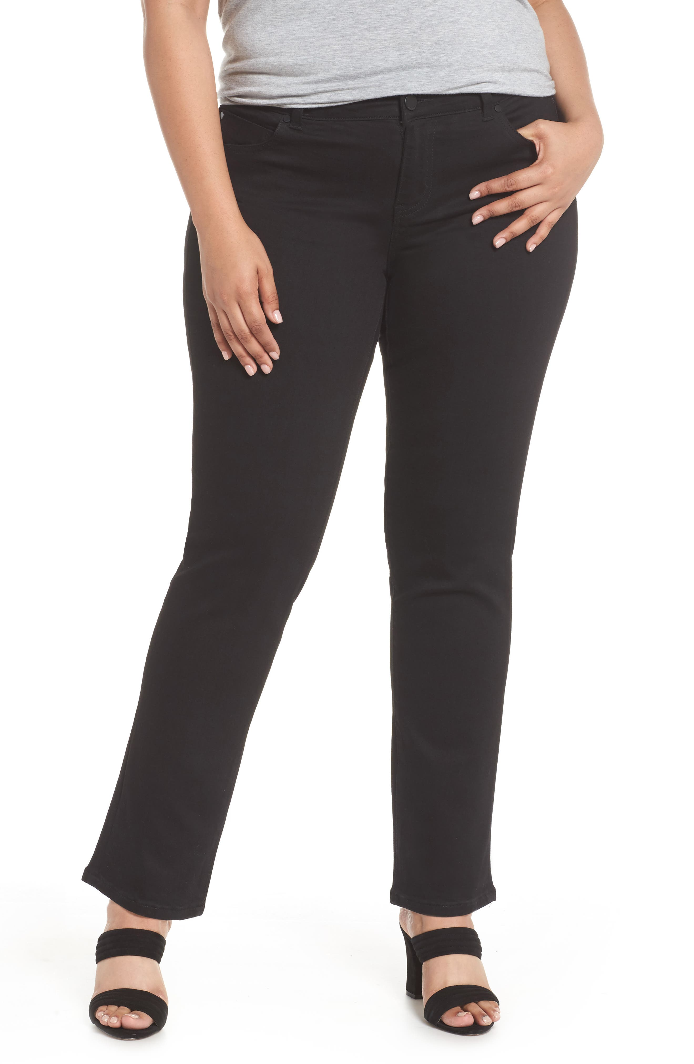 Sadie Stretch Straight Jeans,                             Main thumbnail 1, color,                             BLACK RINSE