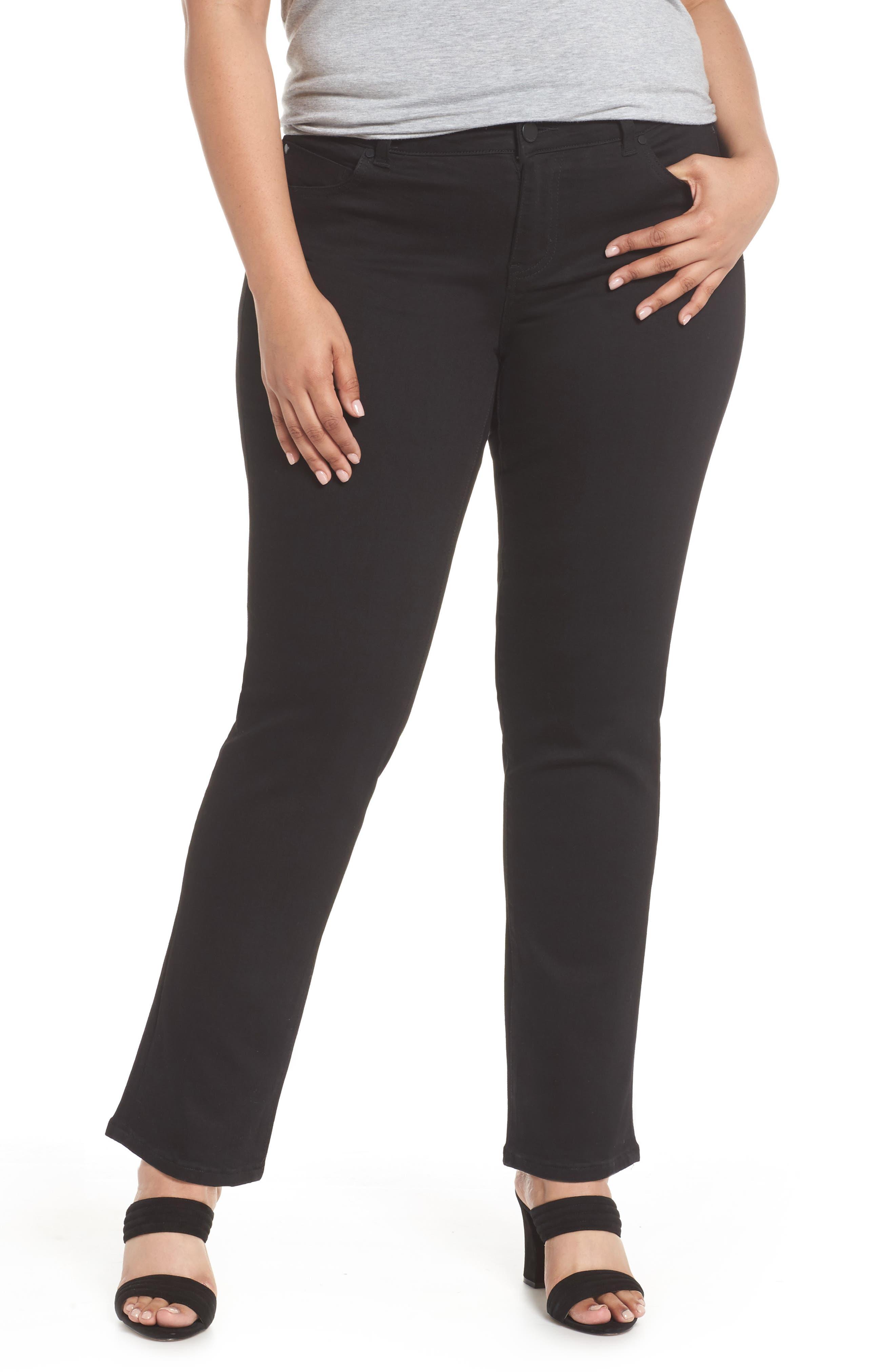 Sadie Stretch Straight Jeans,                         Main,                         color, BLACK RINSE