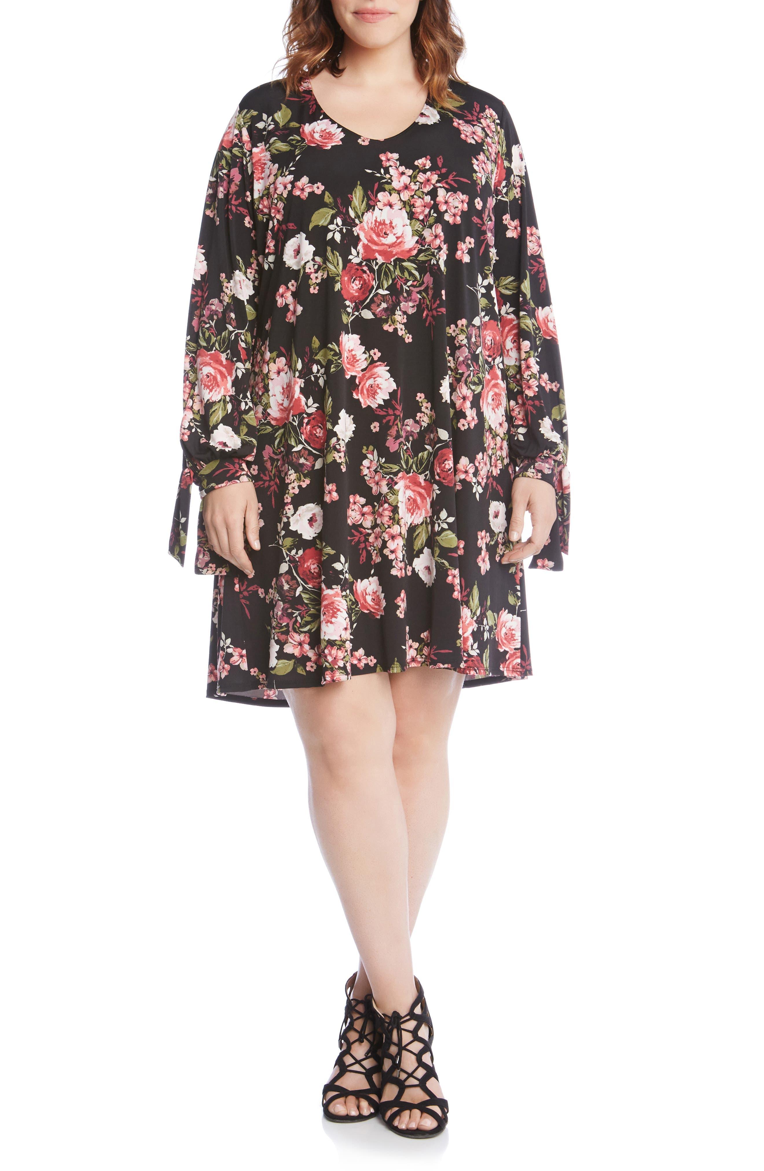 Plus Size Karen Kane Taylor Tie Sleeve Dress, Pink