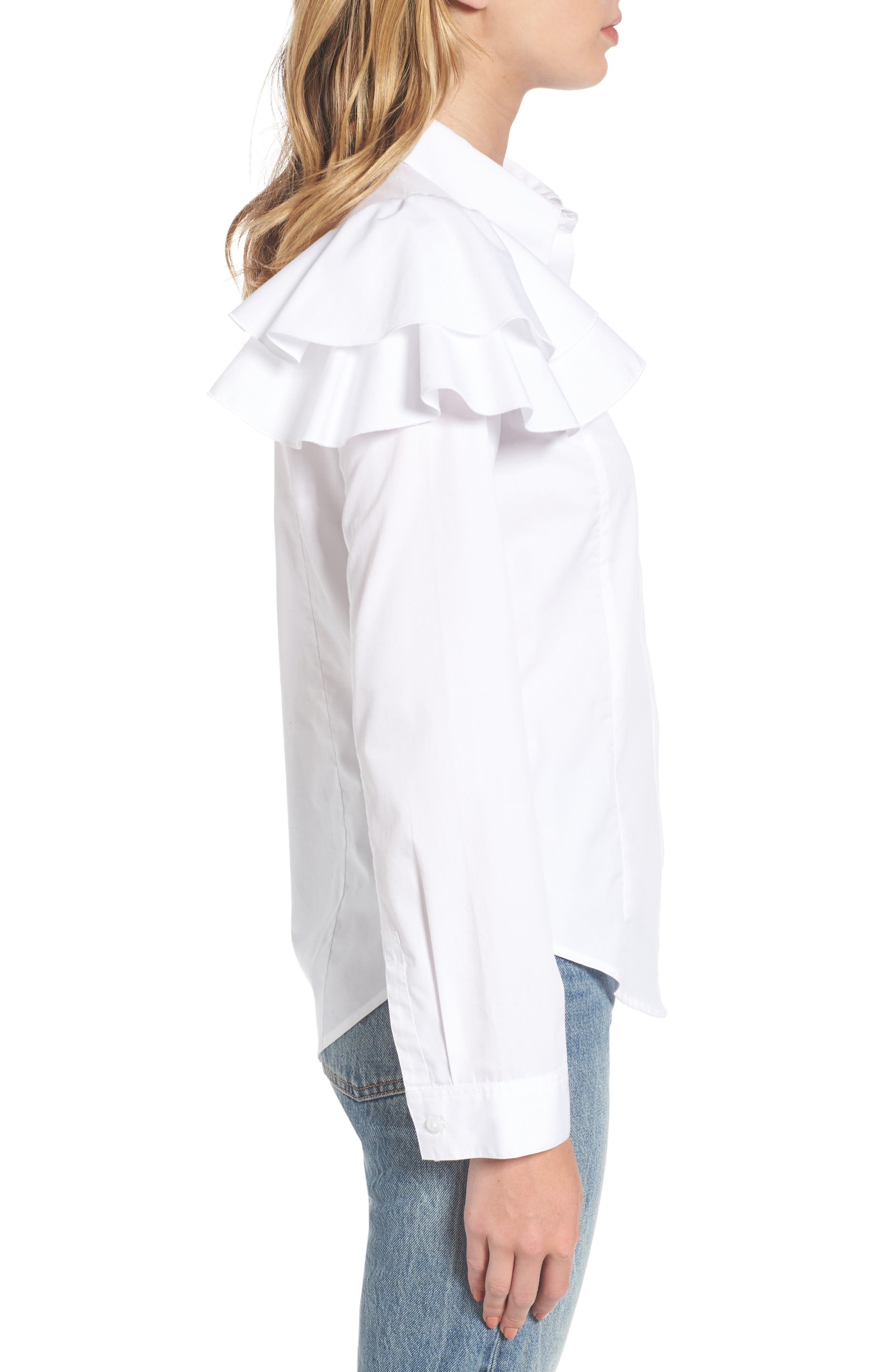 Ruffle Shoulder Shirt,                             Alternate thumbnail 3, color,                             100
