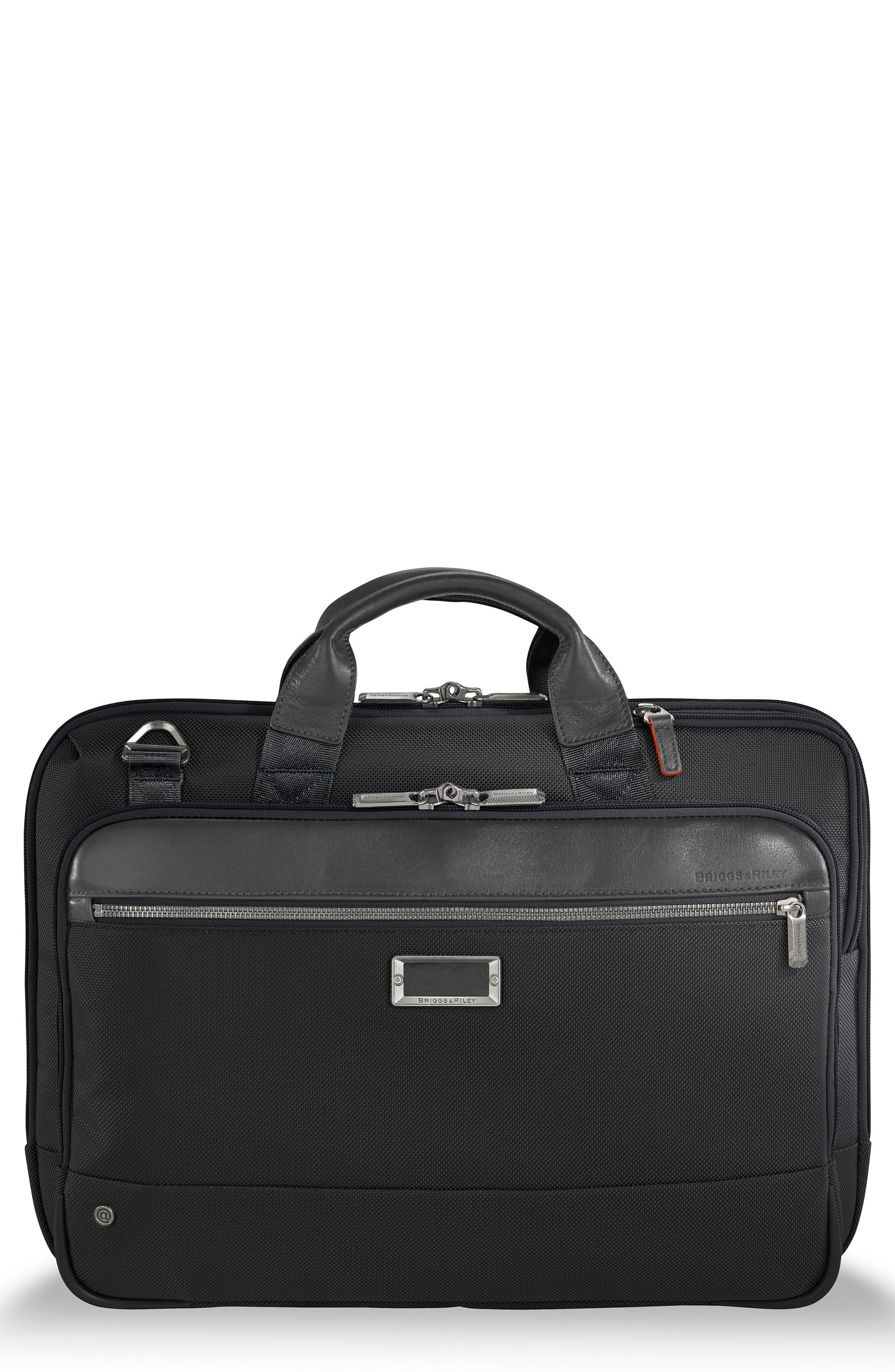 BRIGGS & RILEY @work Slim Briefcase, Main, color, BLACK