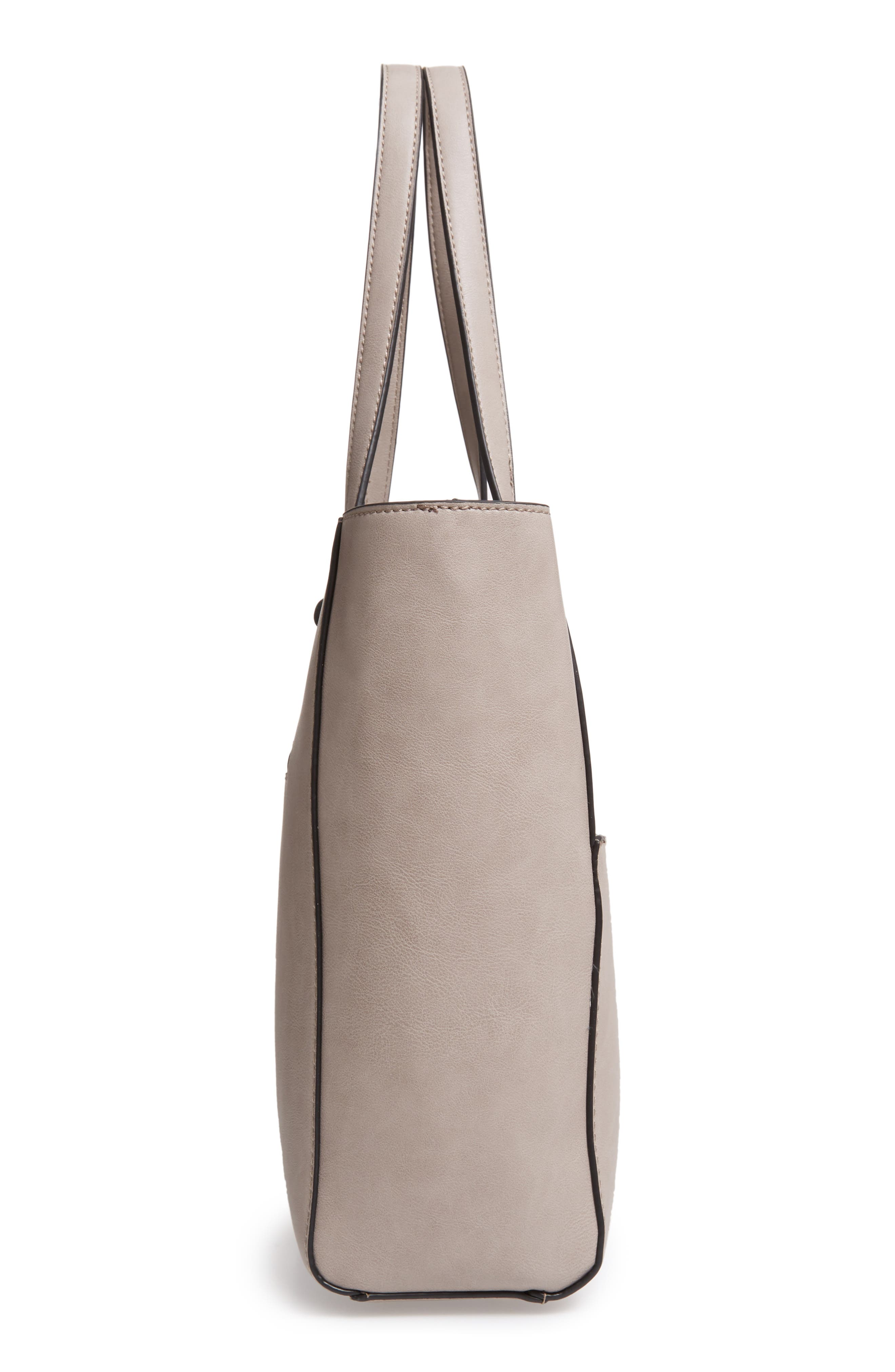 SOLE SOCIETY,                             Alyn Faux Leather Tote,                             Alternate thumbnail 5, color,                             GRAVEL