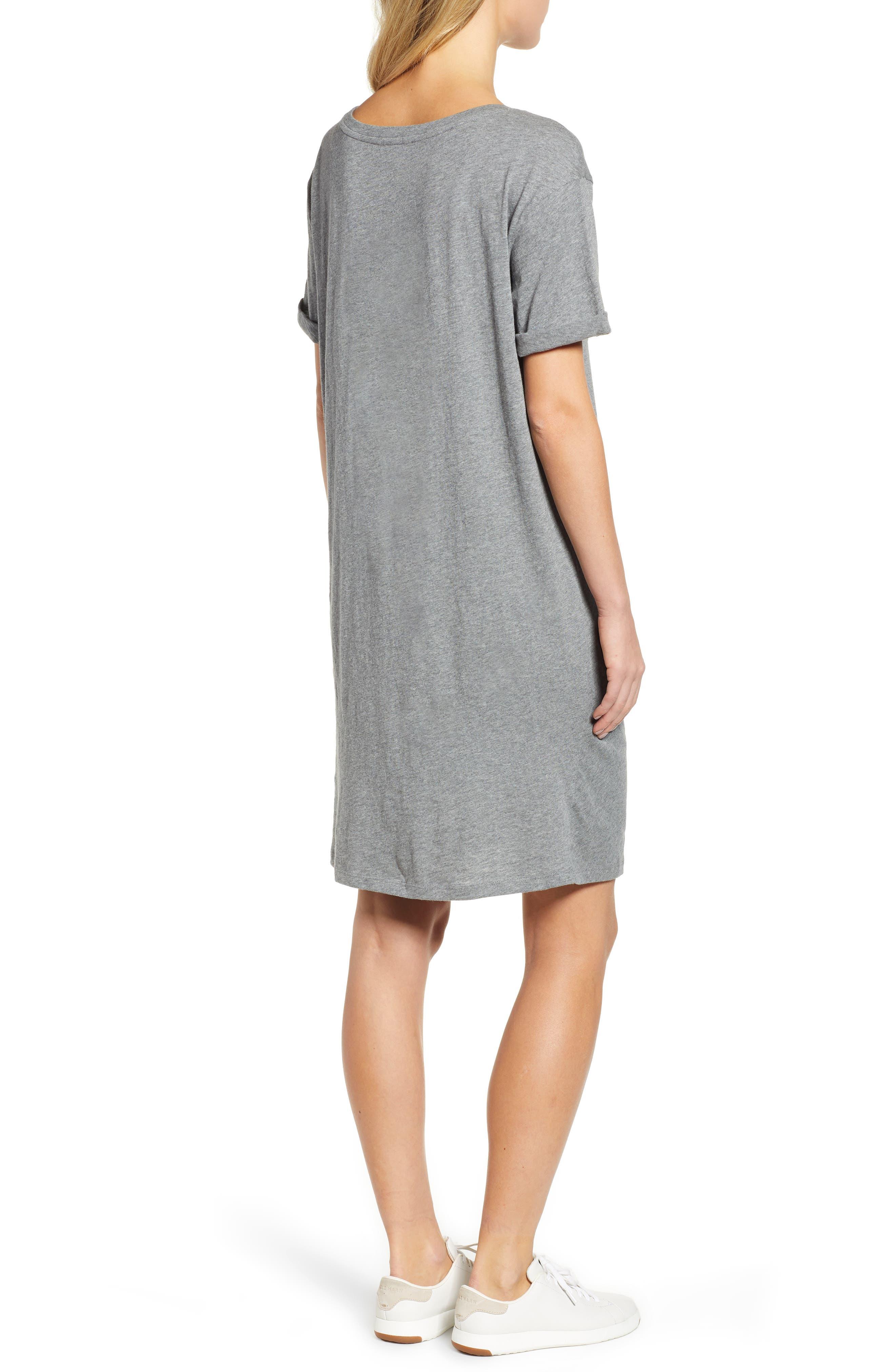 Knot Front T-Shirt Dress,                             Alternate thumbnail 2, color,                             GREY DARK HEATHER