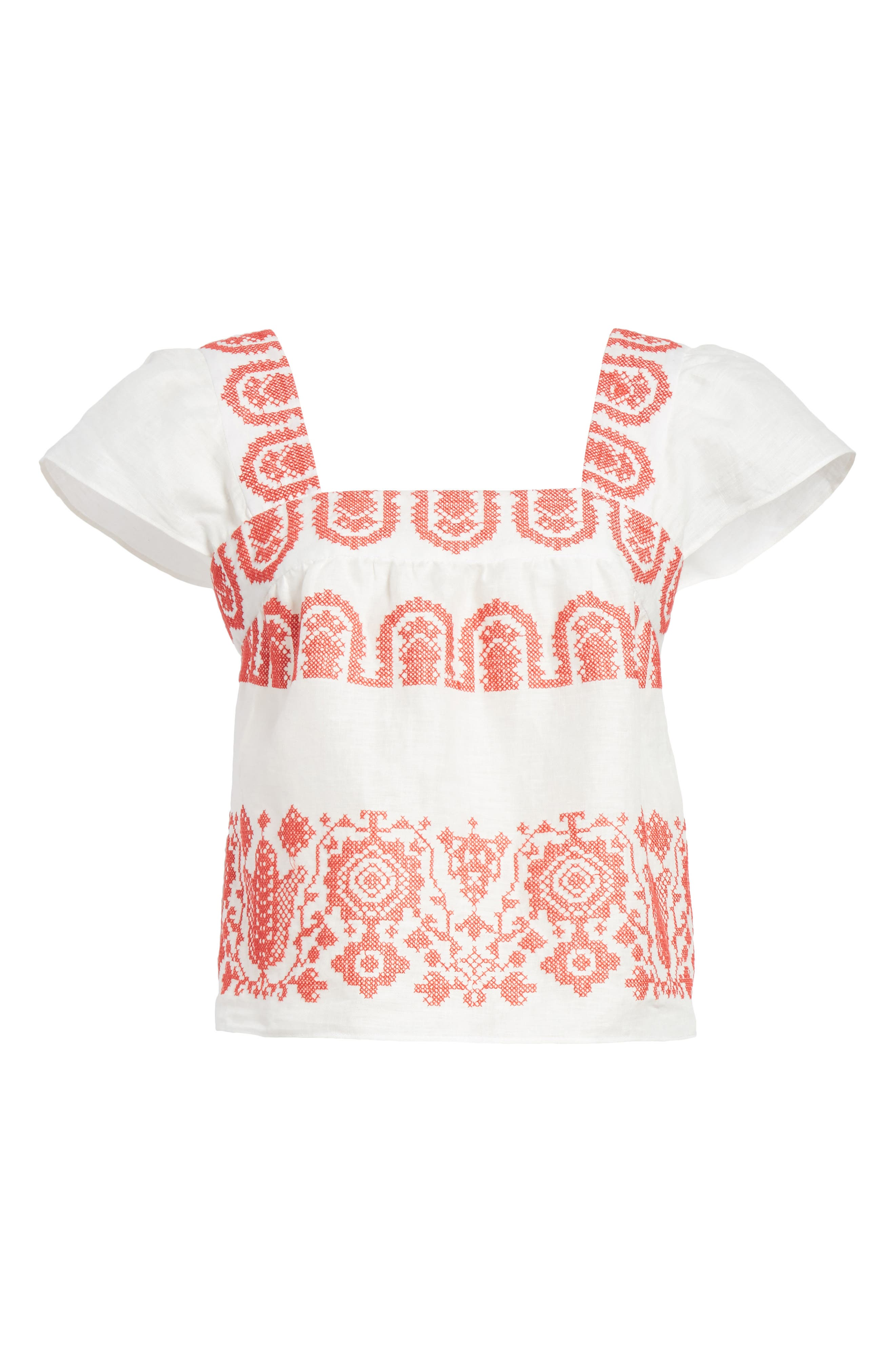 Mykonos Embroidered Crop Square Neck Linen Top,                             Alternate thumbnail 6, color,                             POPPY