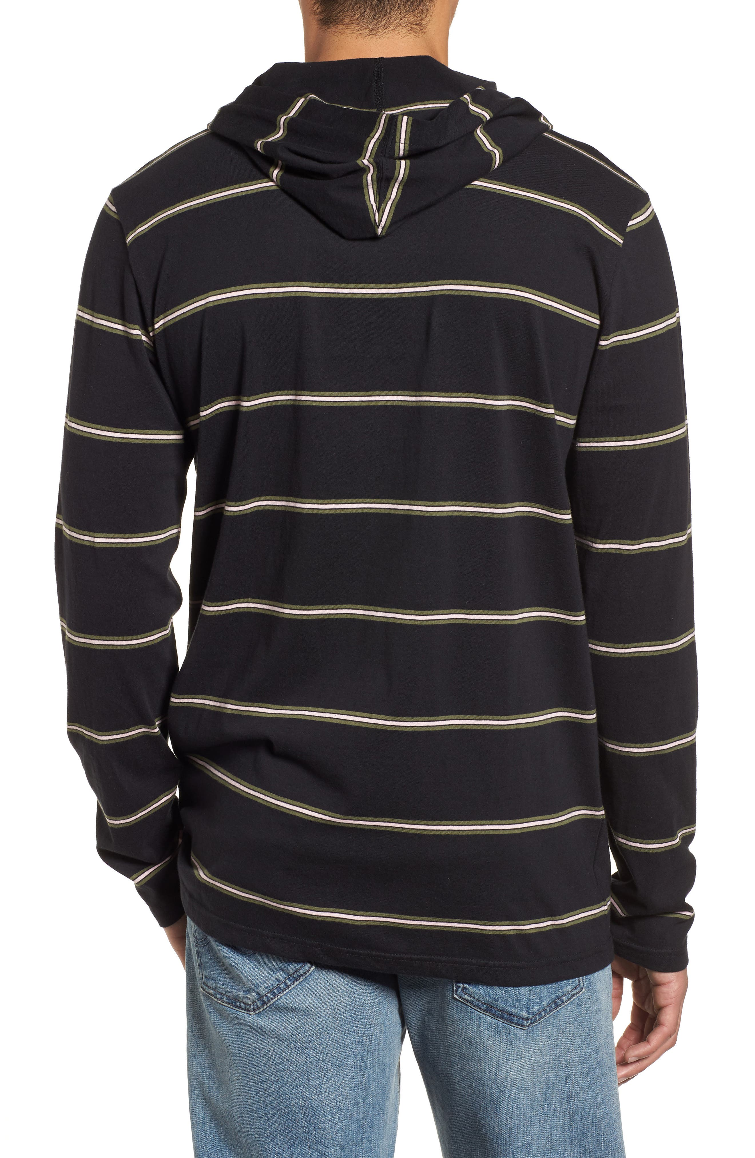 Die Cut Hooded Long Sleeve T-Shirt,                             Alternate thumbnail 2, color,                             001