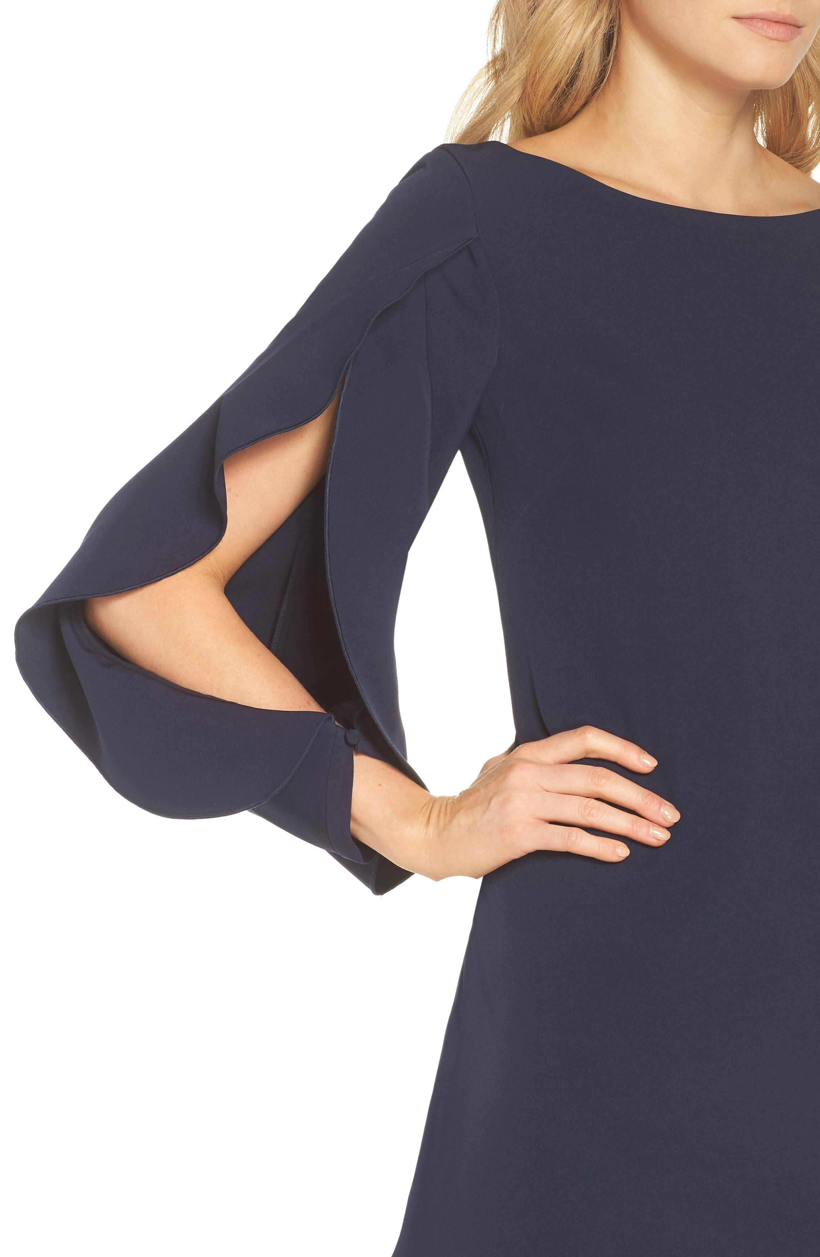 Crepe Ruffle Sleeve Shift Dress,                             Alternate thumbnail 4, color,                             410