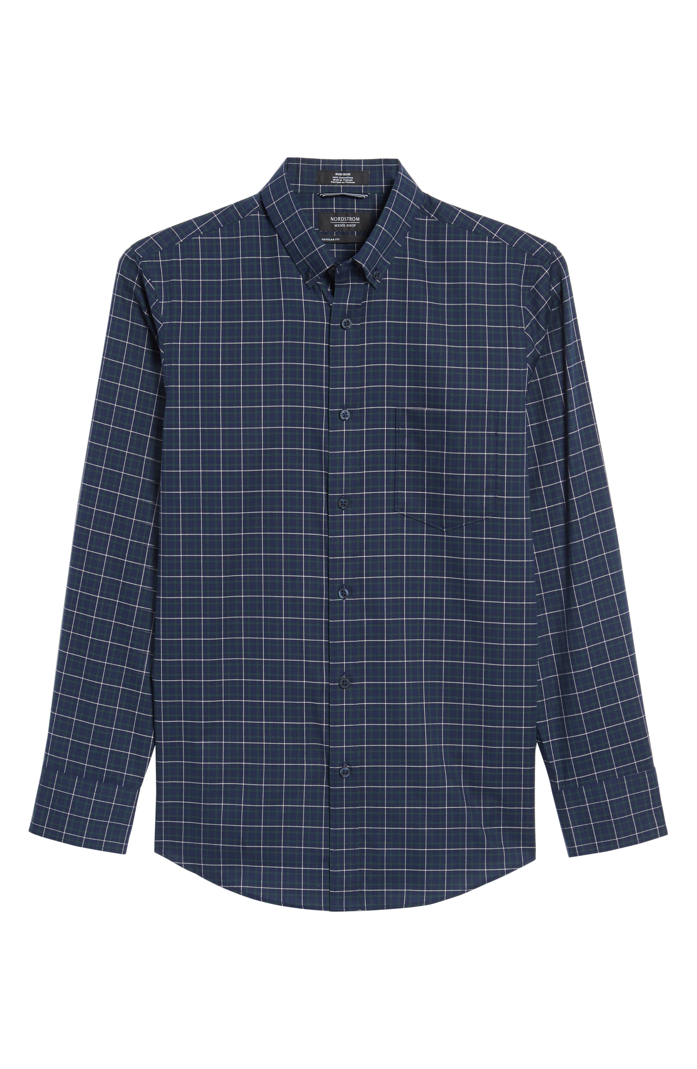 Regular Fit Non-Iron Plaid Sport Shirt,                             Alternate thumbnail 6, color,