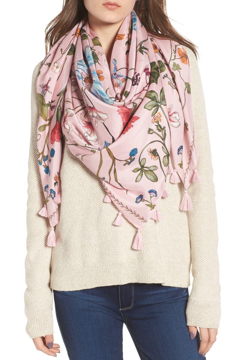 Treasure & Bond Floral Print Tassel Silk Scarf | Nordstrom