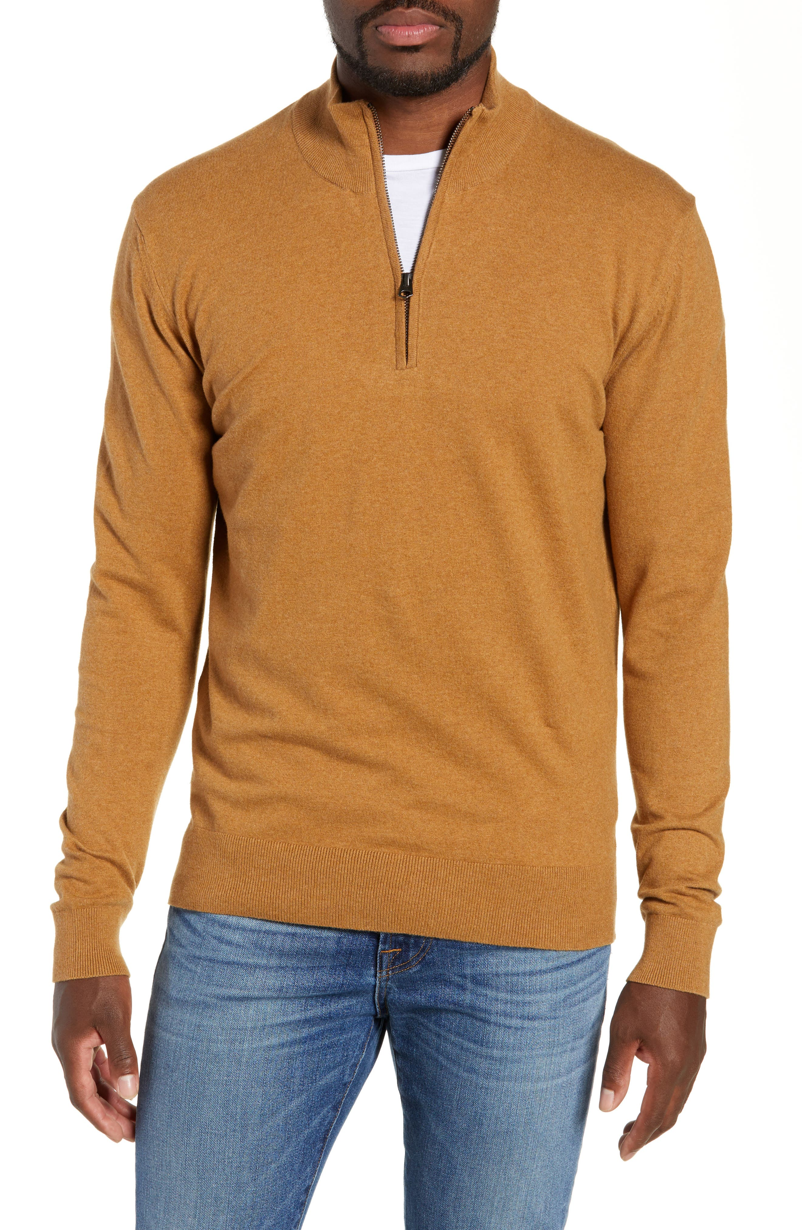 French Connection Stretch Cotton Quarter Zip Sweater, Brown