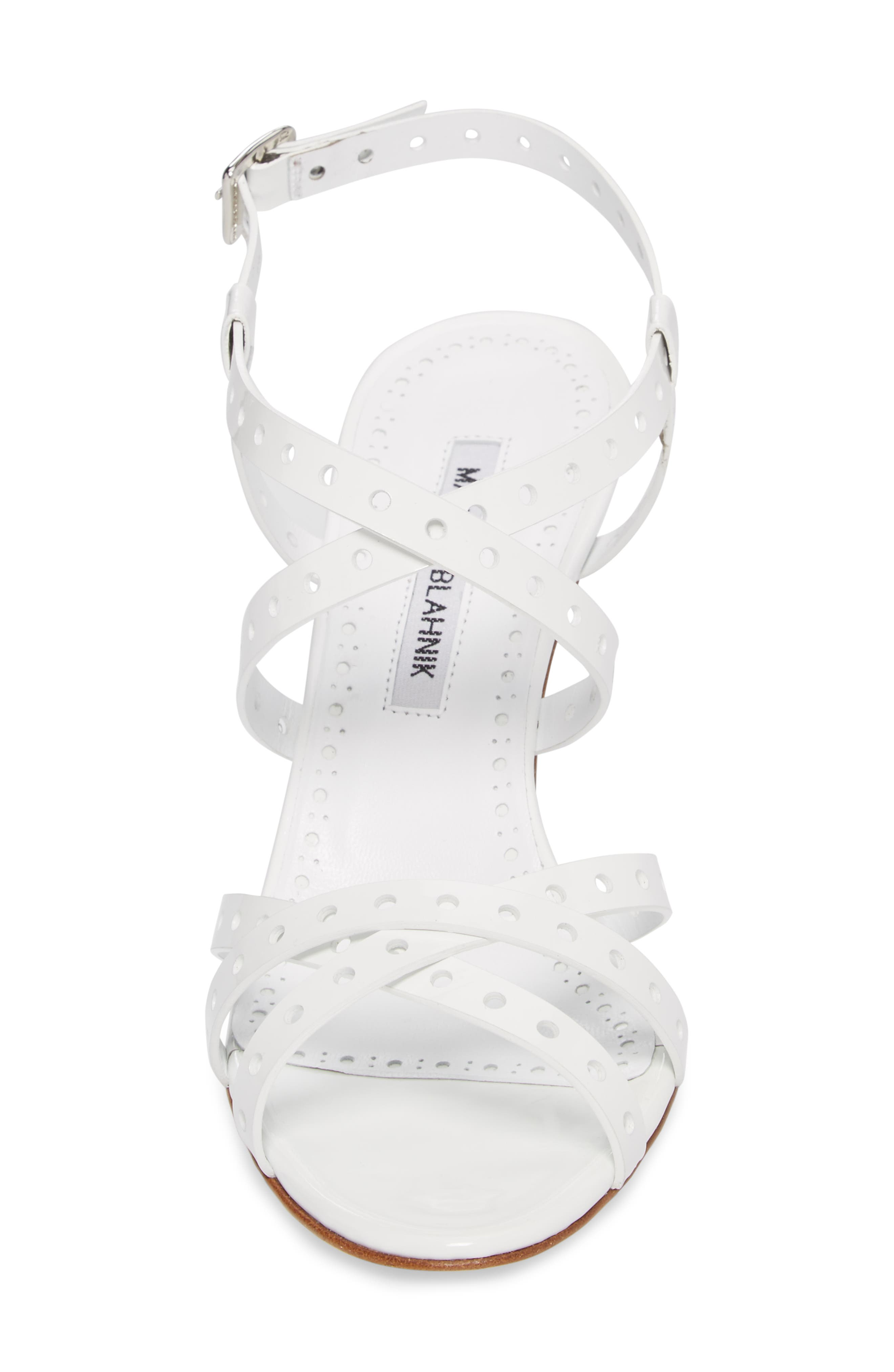 Demure Perforated Strappy Sandal,                             Alternate thumbnail 4, color,                             100