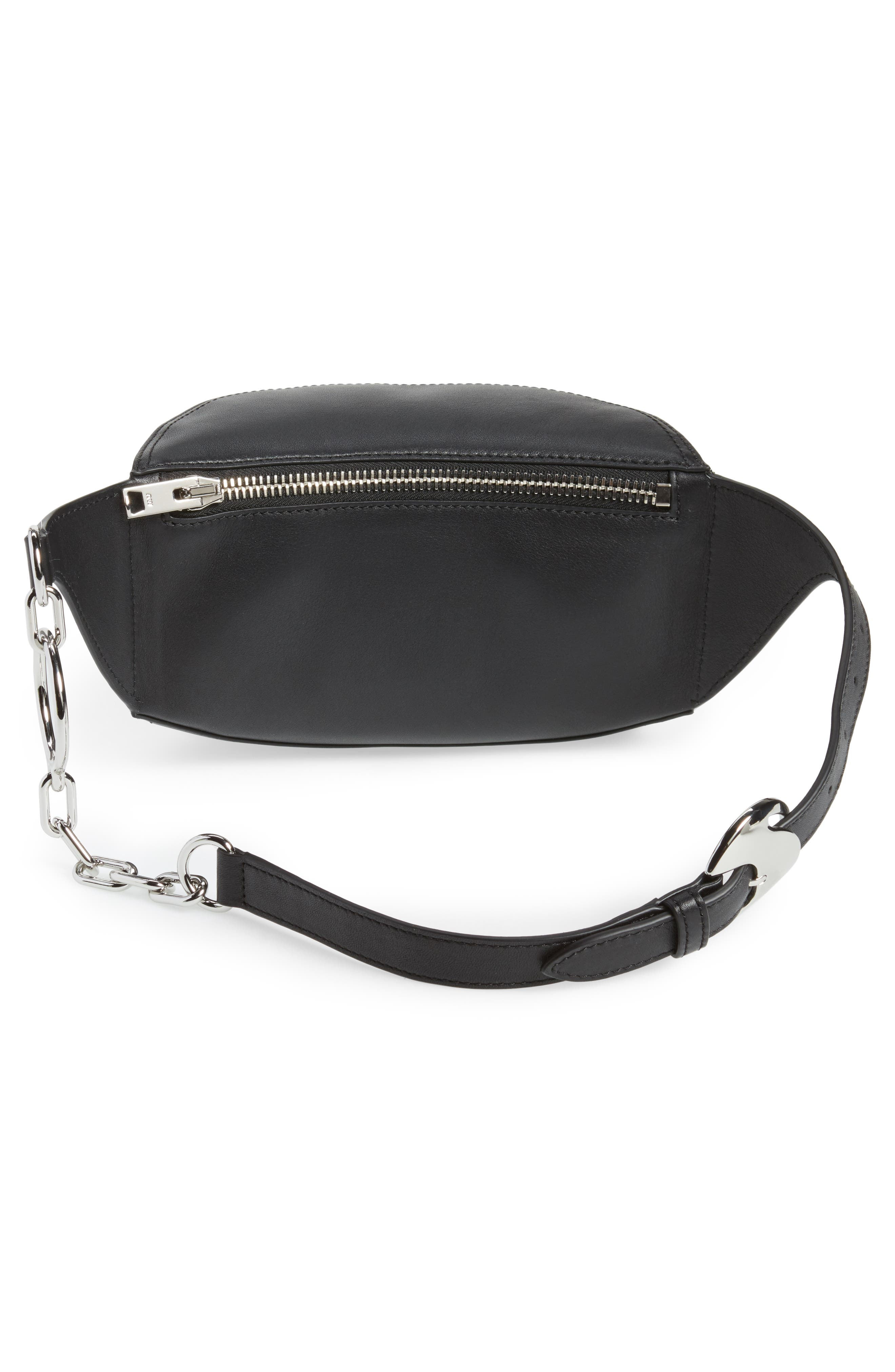 Leather Fanny Pack,                             Alternate thumbnail 4, color,                             001