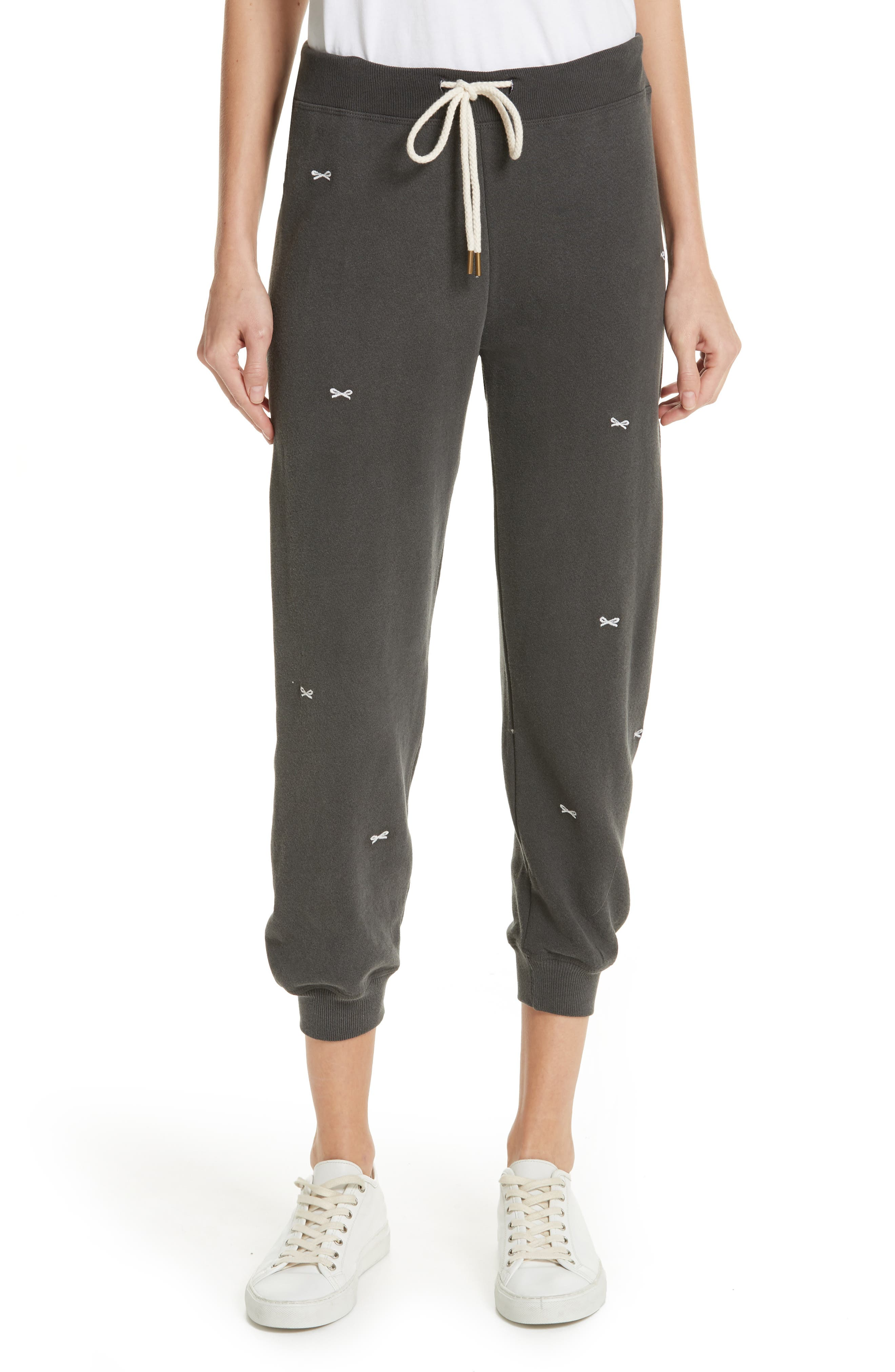 The Cropped Sweatpants,                         Main,                         color, WASHED BLACK/ WHITE