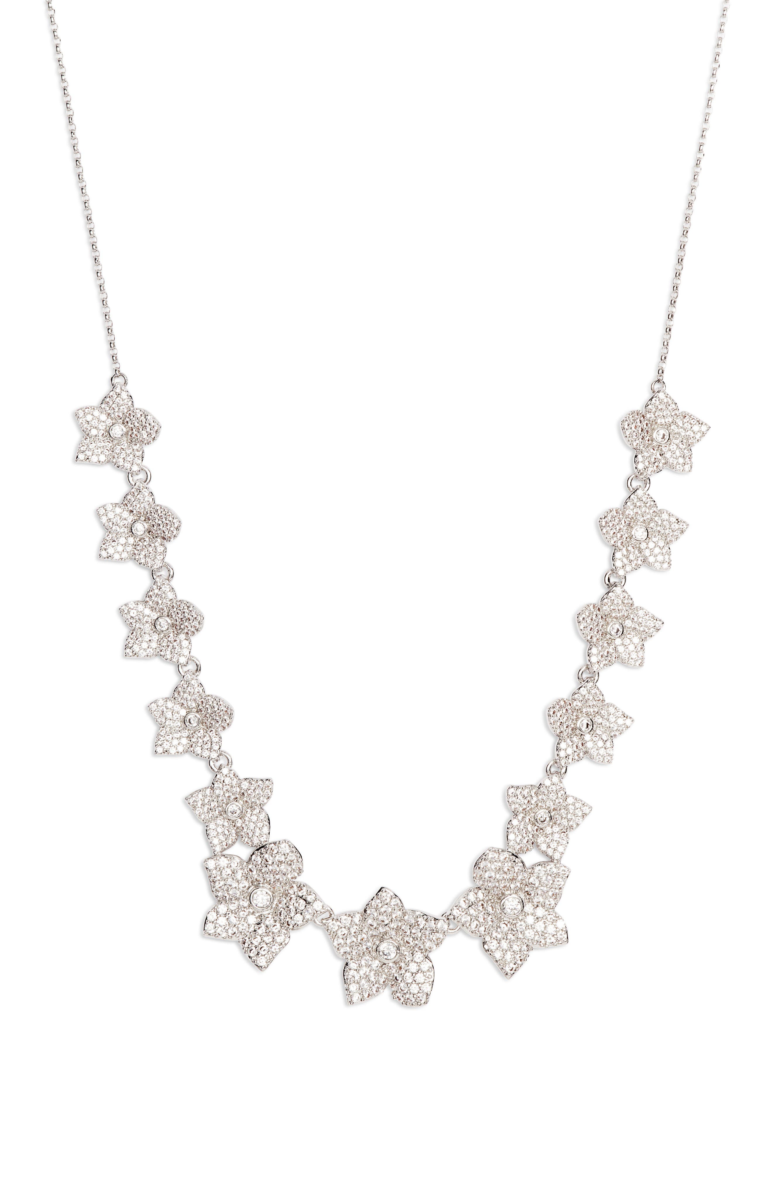 blooming pavé necklace,                         Main,                         color, 040
