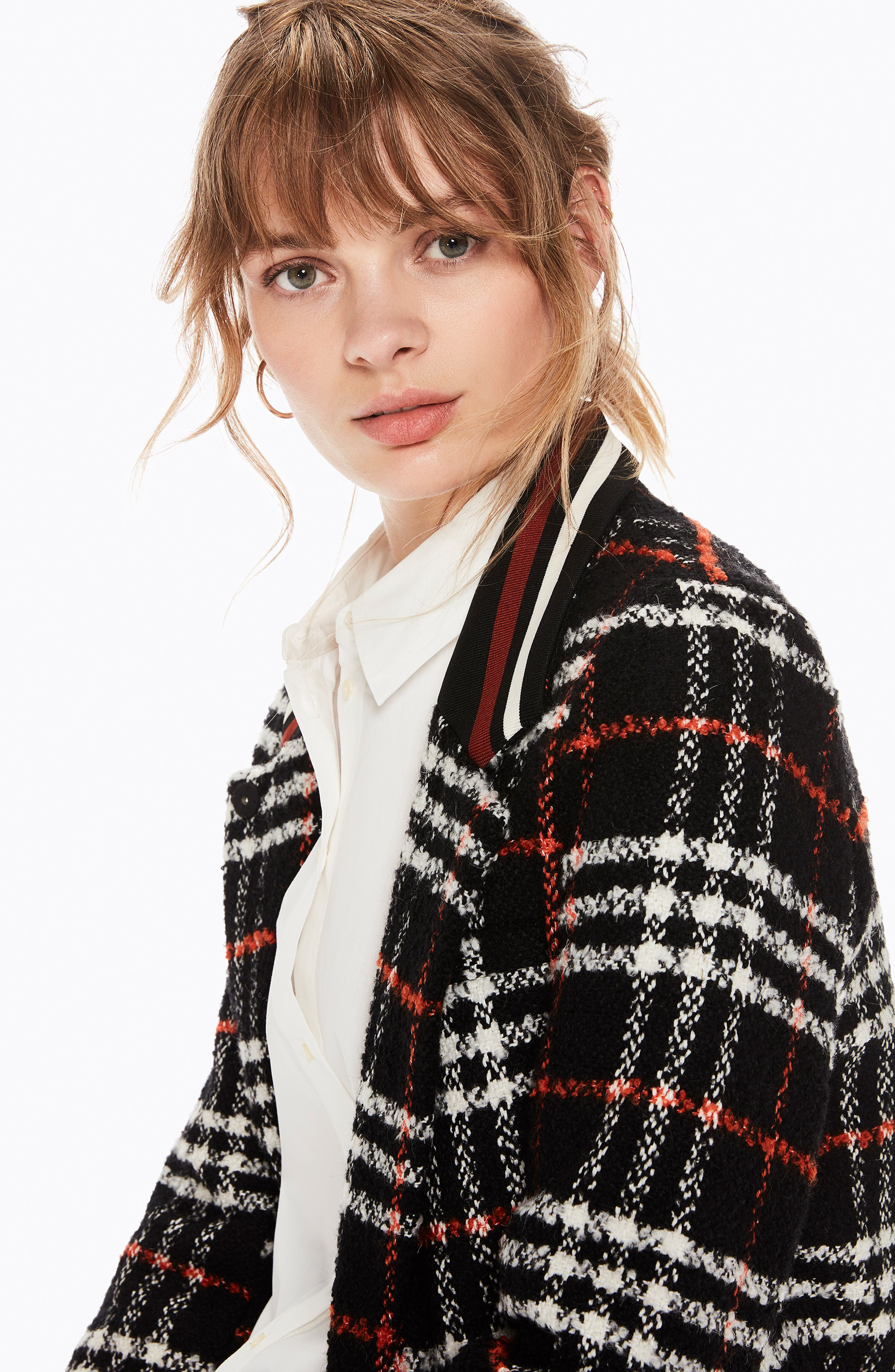 Bonded Wool Blend Jacket,                             Alternate thumbnail 5, color,                             BLACK AND RED PLAID