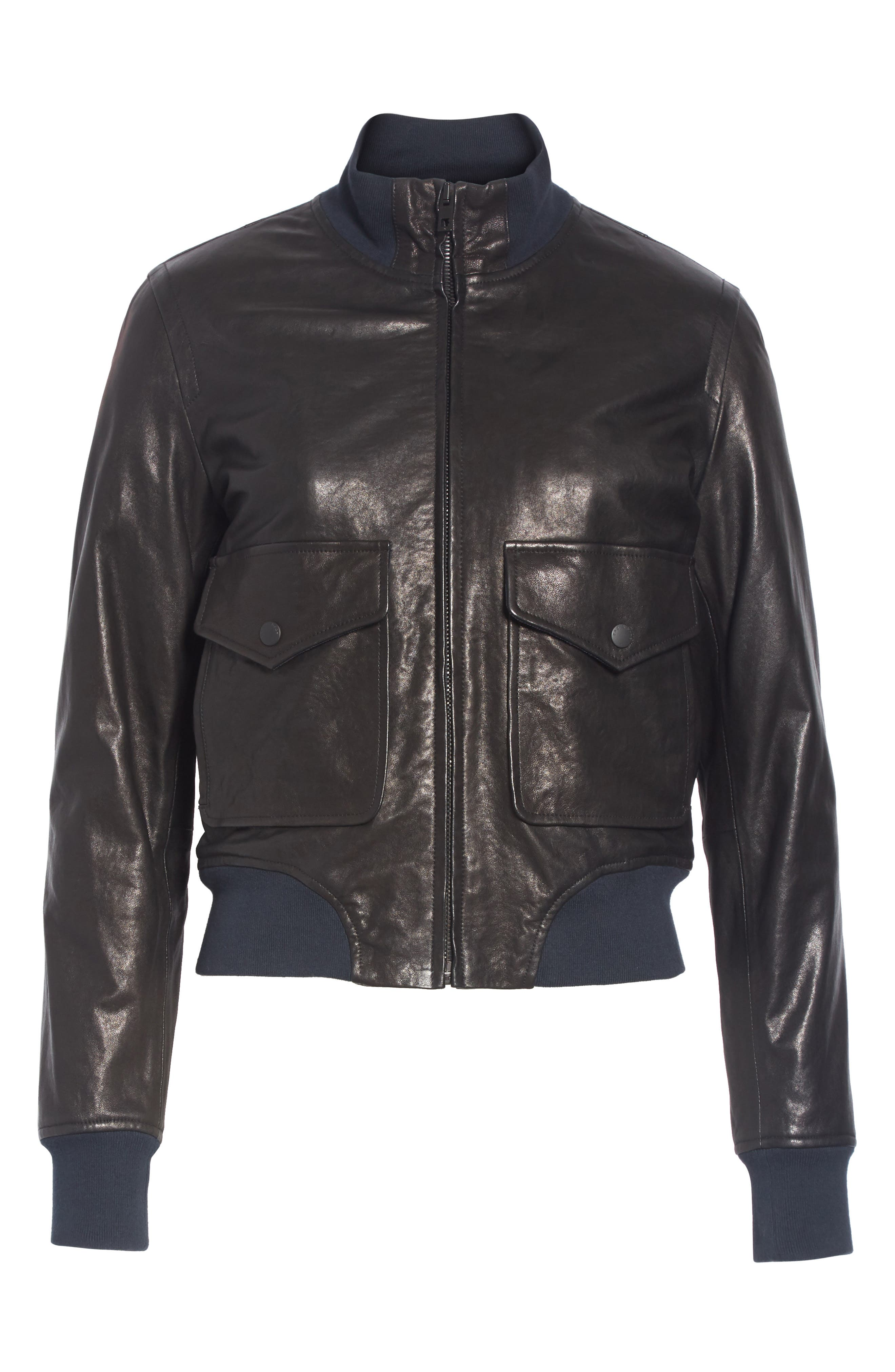 Mila Lambskin Leather Jacket,                             Alternate thumbnail 5, color,                             001