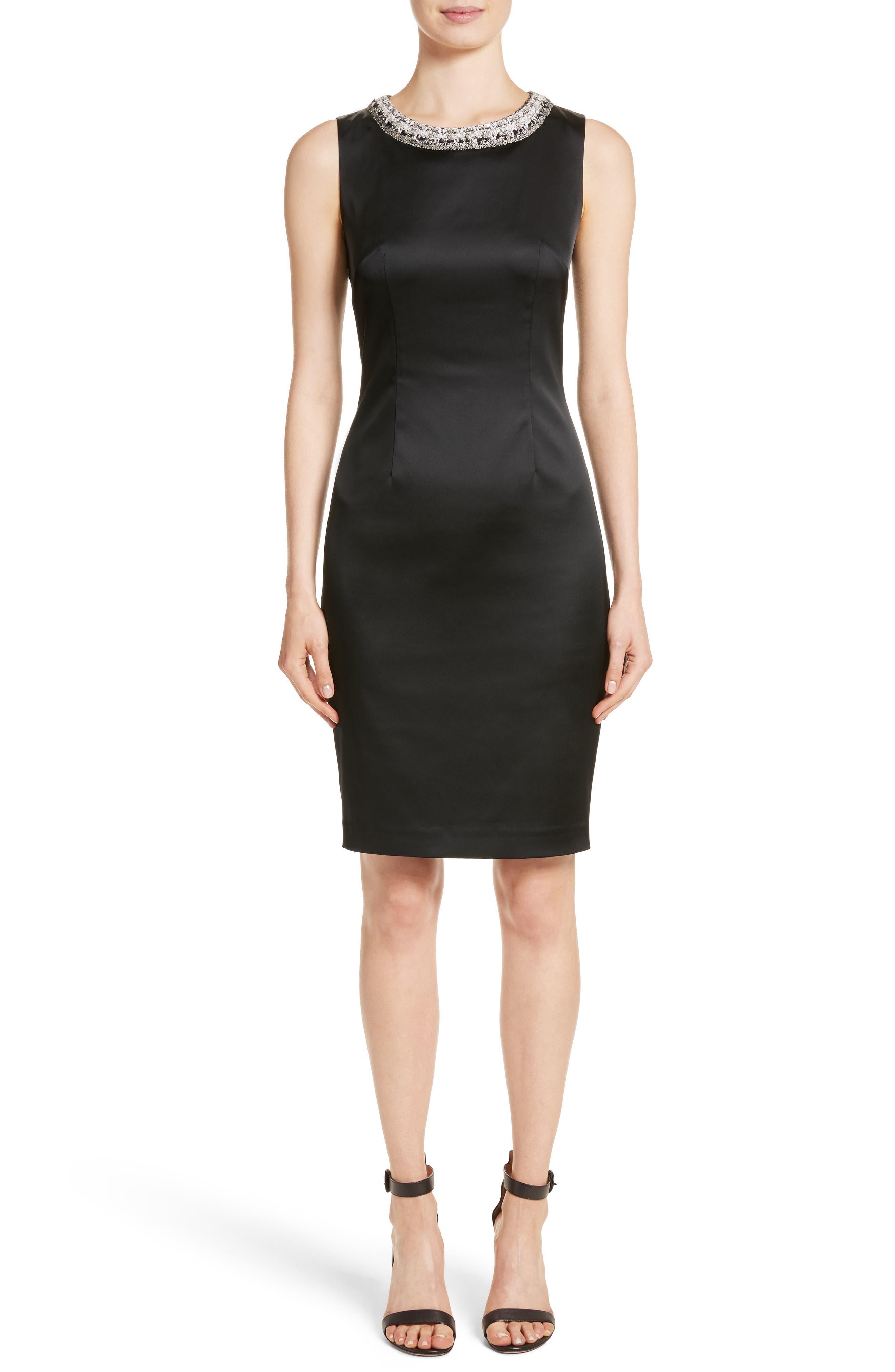 Knit Trim Stretch Satin Dress,                         Main,                         color, 001