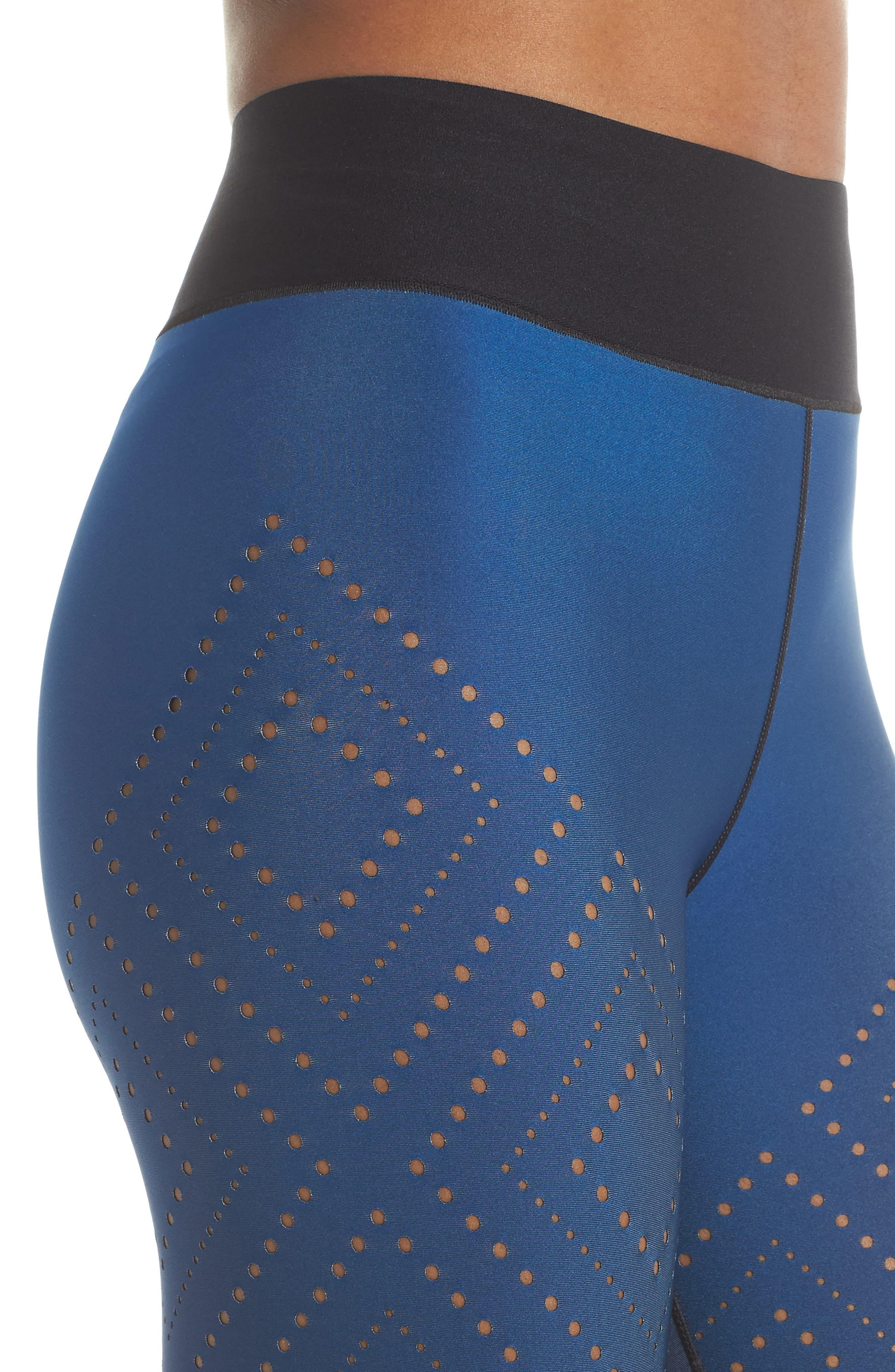 Sprinter High Argyle Pixelate Leggings,                             Alternate thumbnail 4, color,                             GRADIENT SAPPHIRE