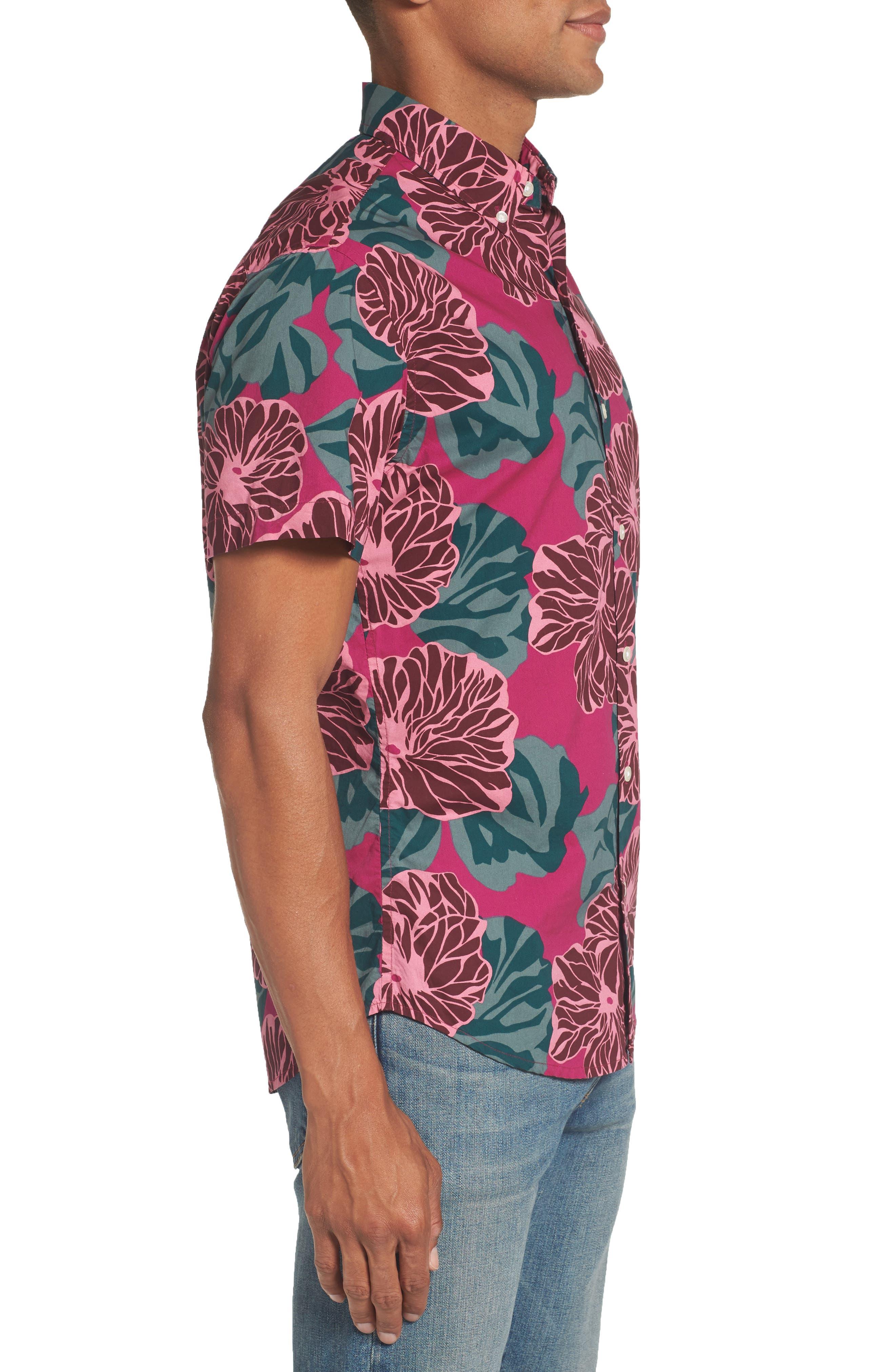 Riviera Slim Fit Short Sleeve Sport Shirt,                             Alternate thumbnail 3, color,                             650
