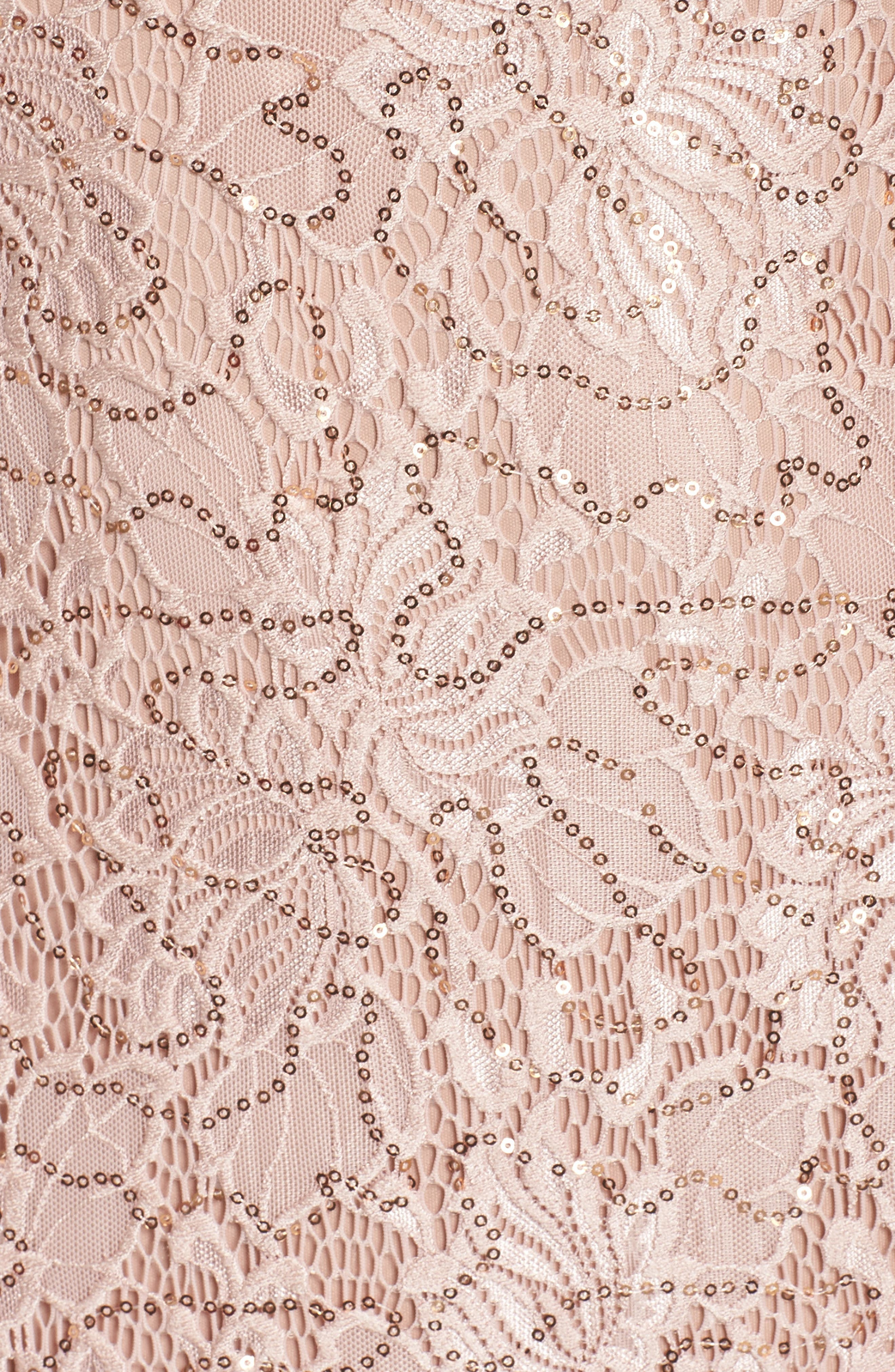 Sequin Lace Gown,                             Alternate thumbnail 5, color,                             ROSE GOLD