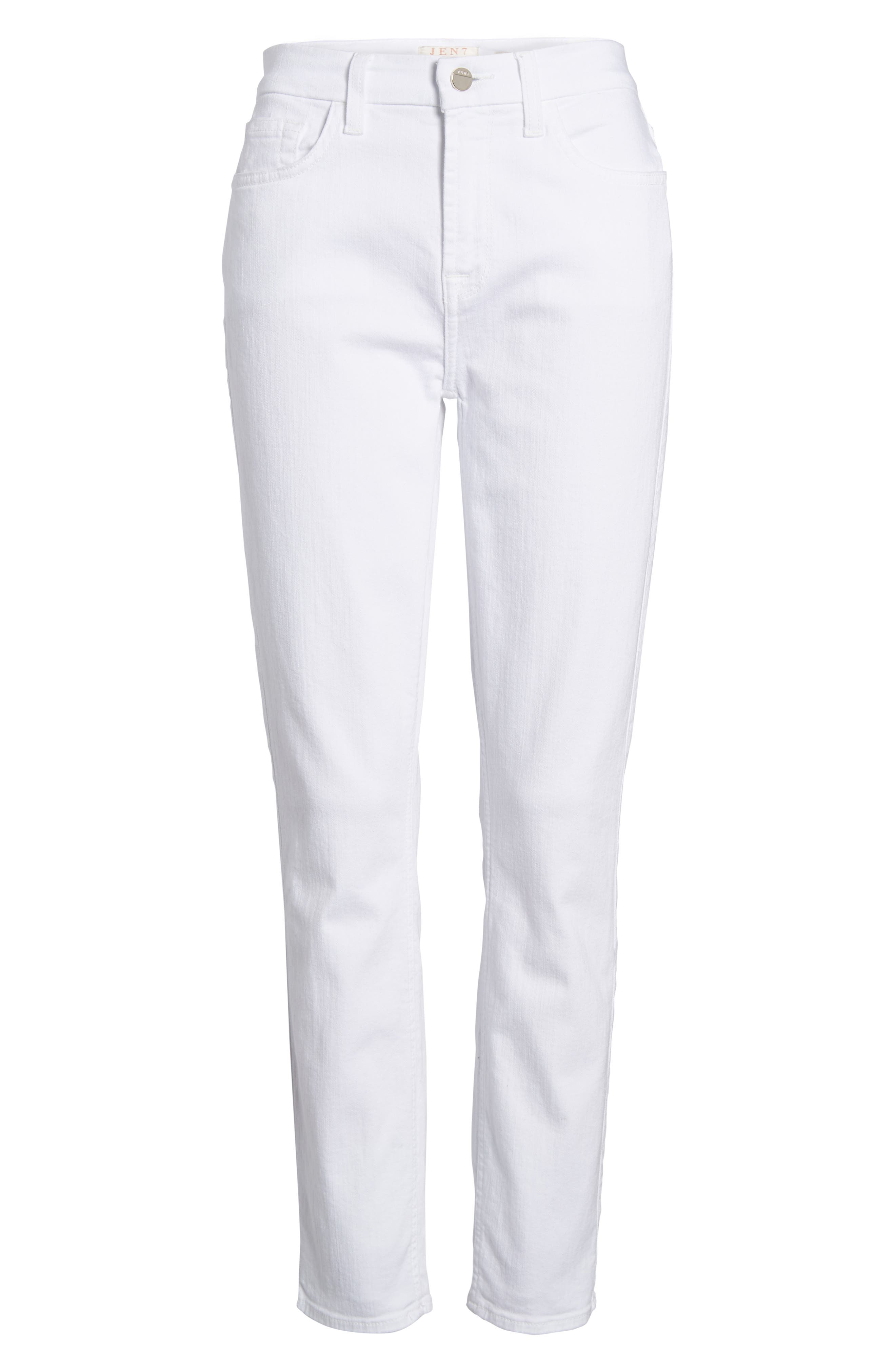 Ankle Skinny Jeans,                             Alternate thumbnail 6, color,                             WHITE FASION