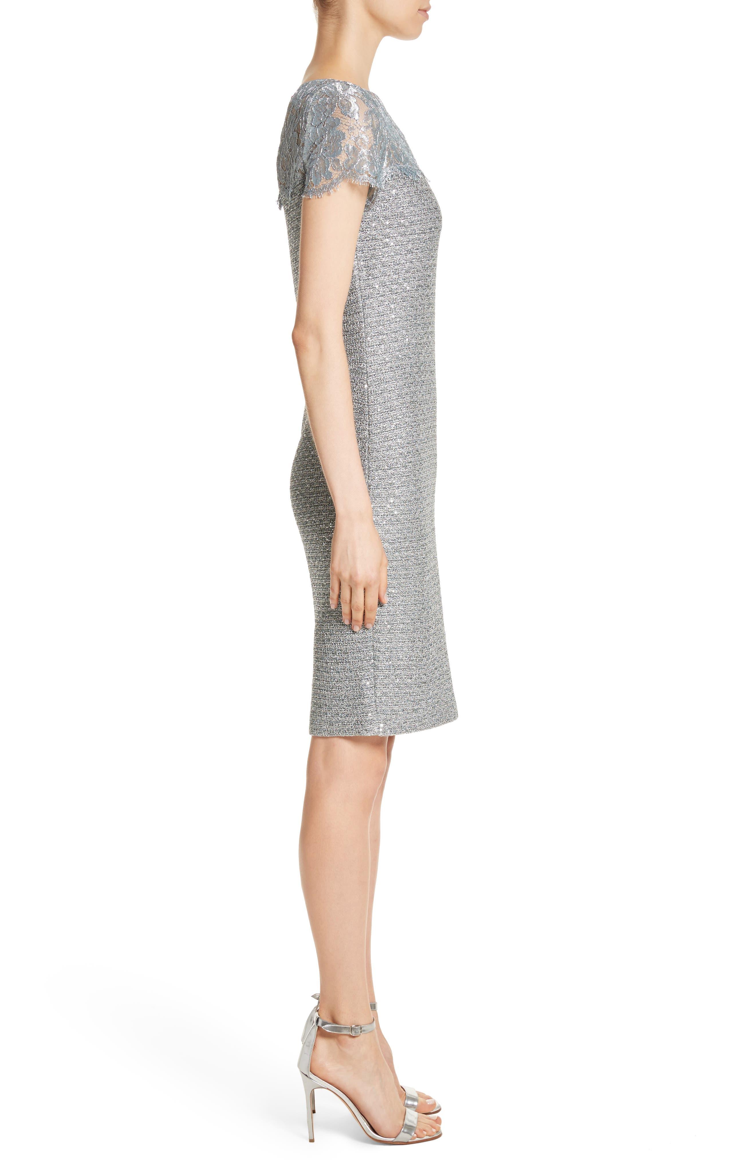 Metallic Sequin Knit Dress,                             Alternate thumbnail 3, color,