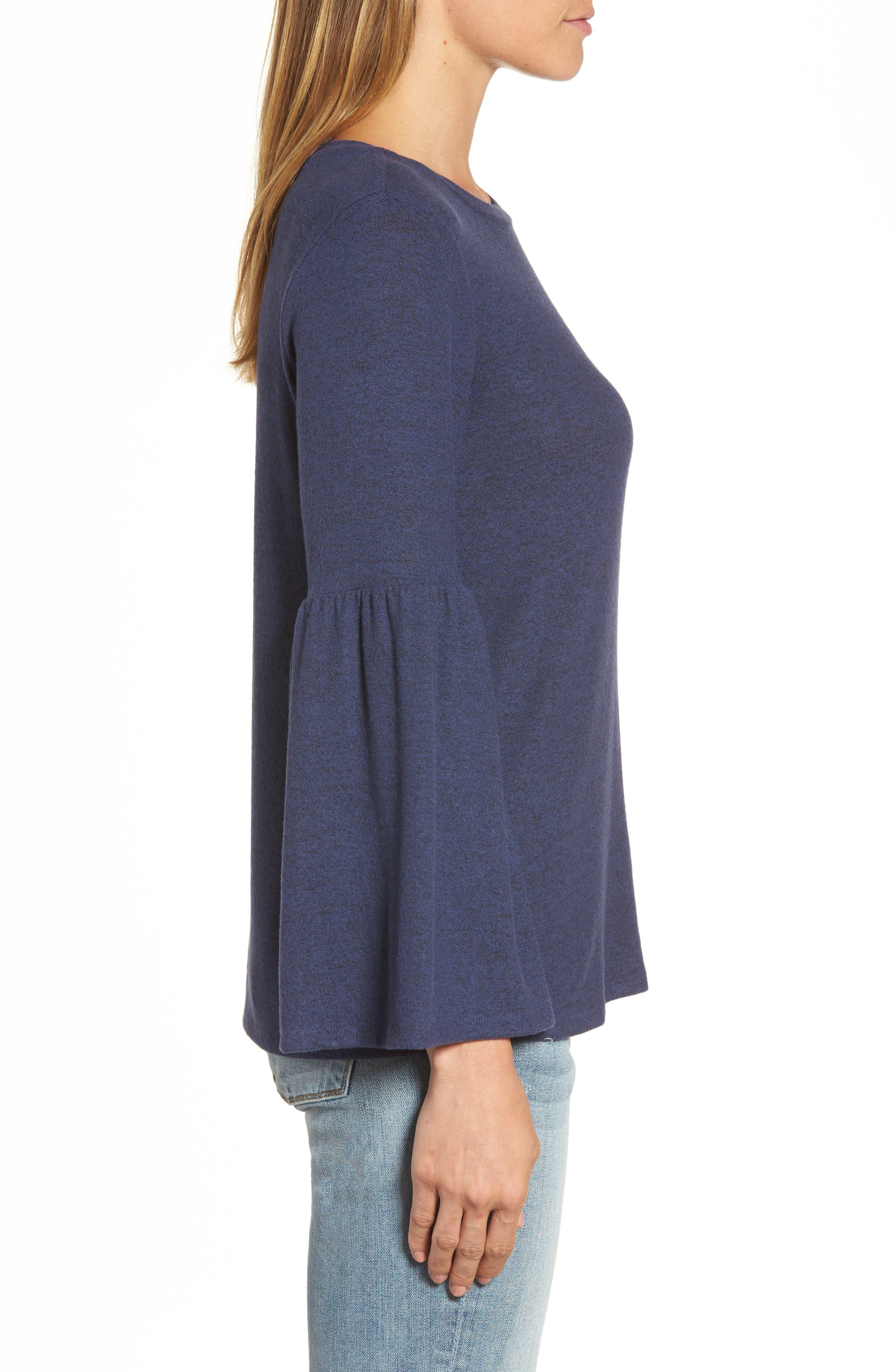 GIBSON,                             Bell Sleeve Cozy Fleece Pullover,                             Alternate thumbnail 3, color,                             415