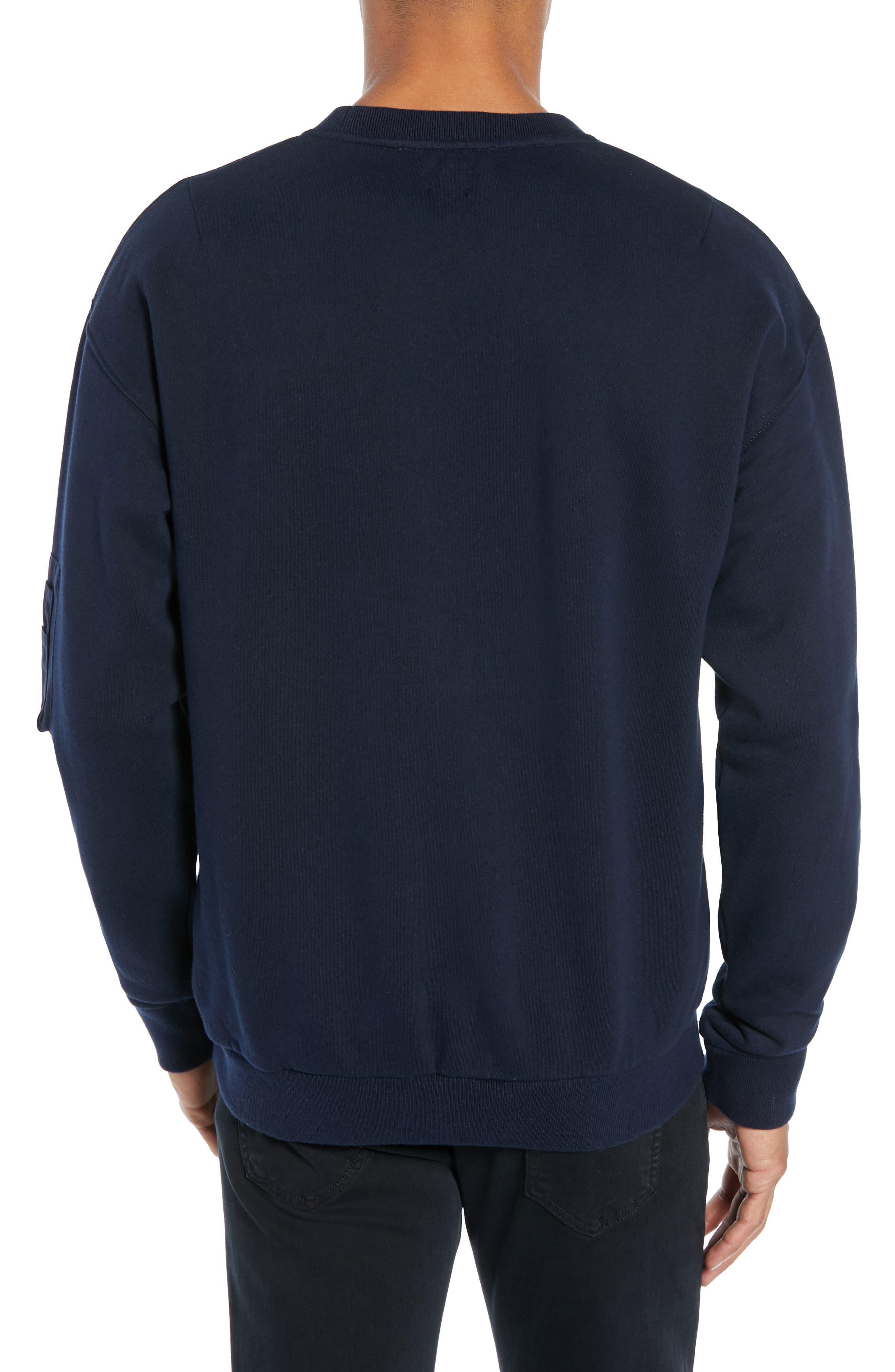 Long Sleeve Zip Pocket Sweatshirt,                             Alternate thumbnail 2, color,                             NAVY