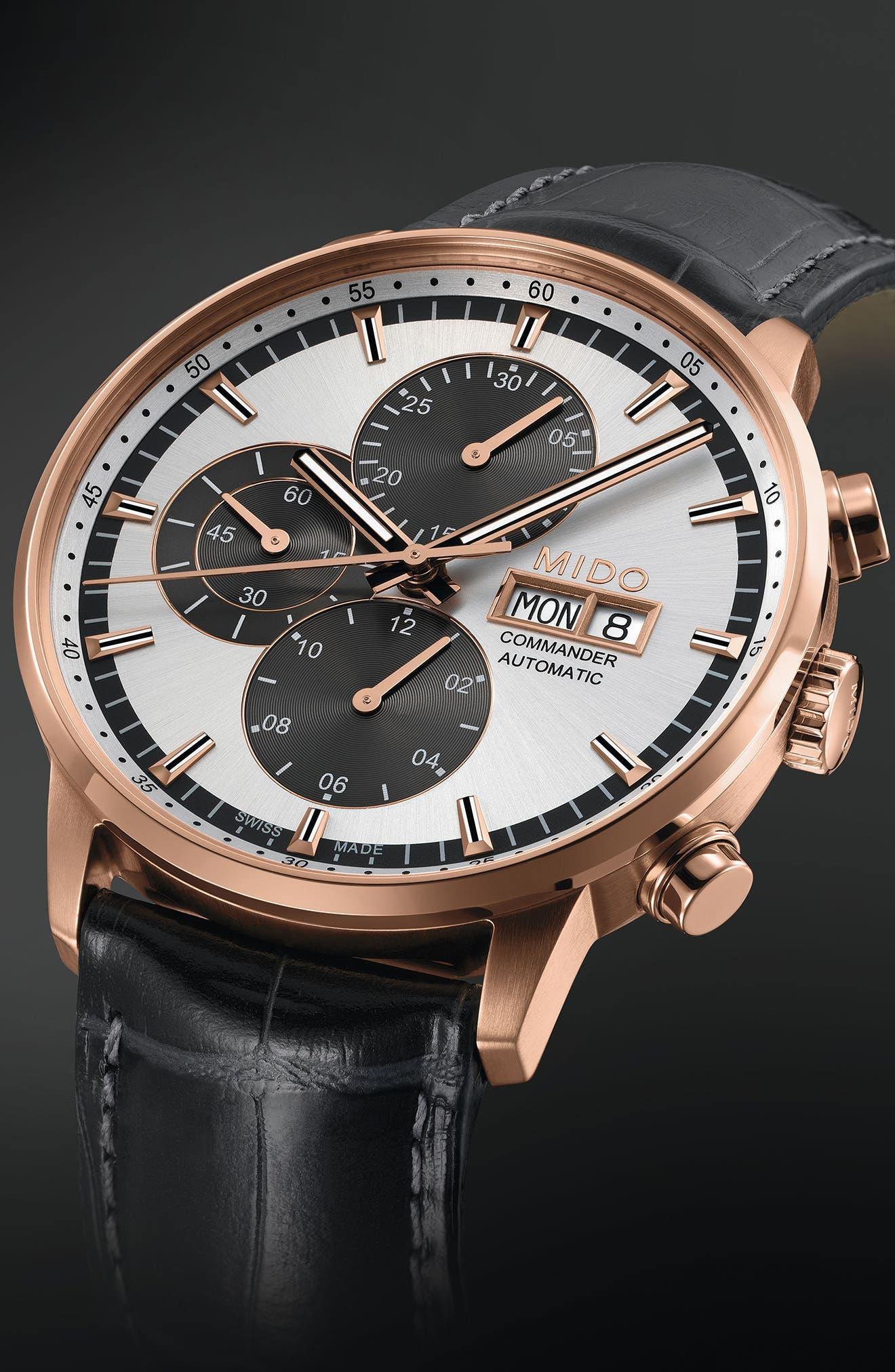 Commander Chronometer Leather Strap Watch, 42mm,                             Alternate thumbnail 4, color,                             BLACK/ SILVER/ ROSE GOLD