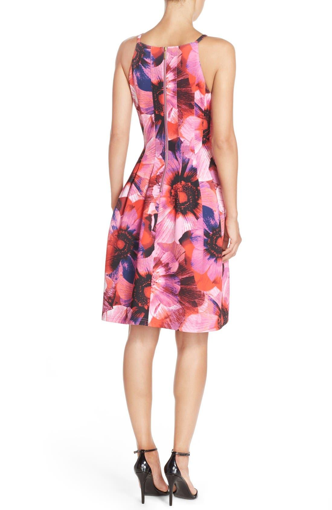 Floral Print Pleated Scuba Fit & Flare Dress,                             Alternate thumbnail 6, color,                             688
