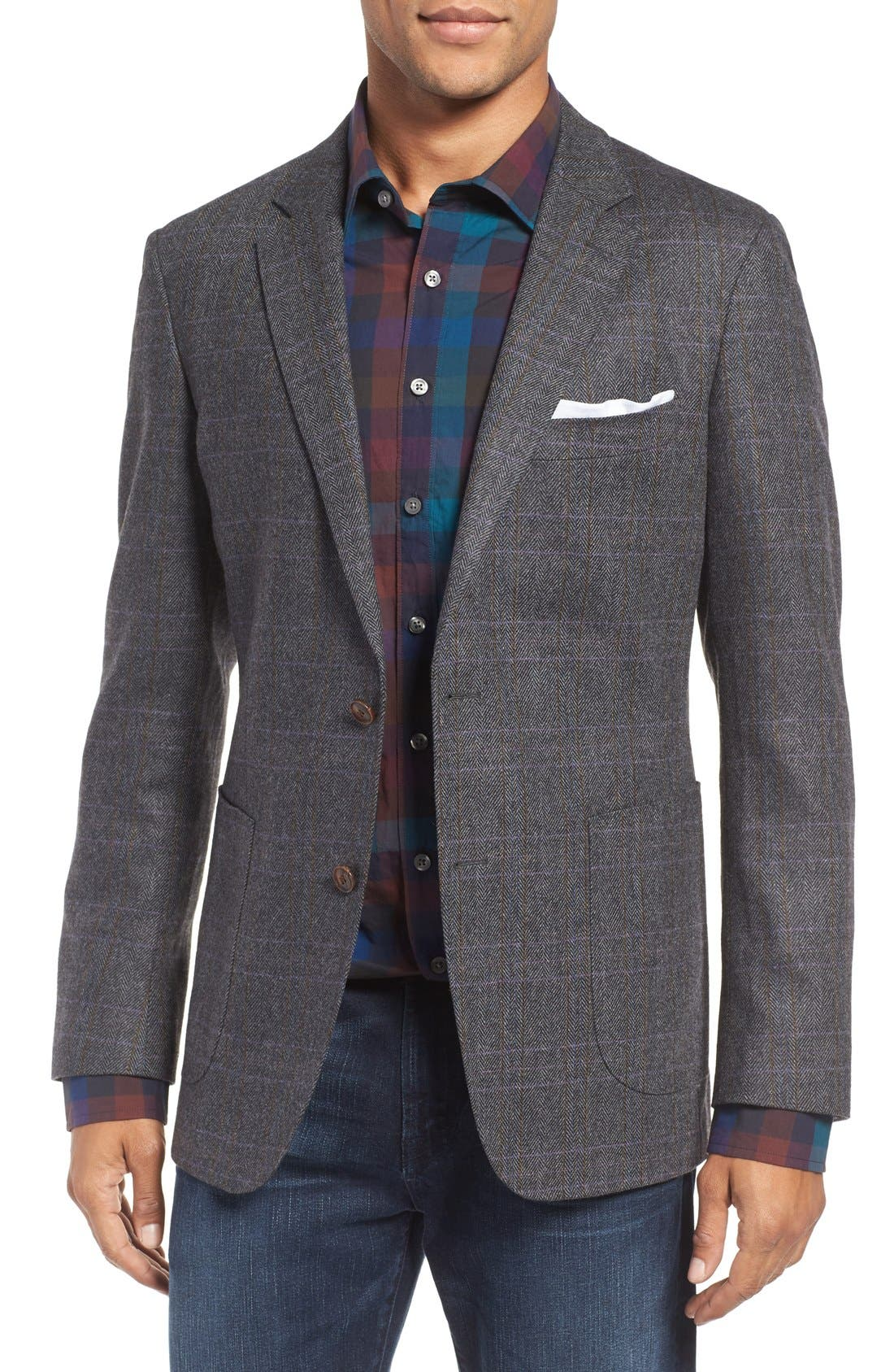 'Clareinch' Herringbone Plaid Sport Coat,                         Main,                         color,