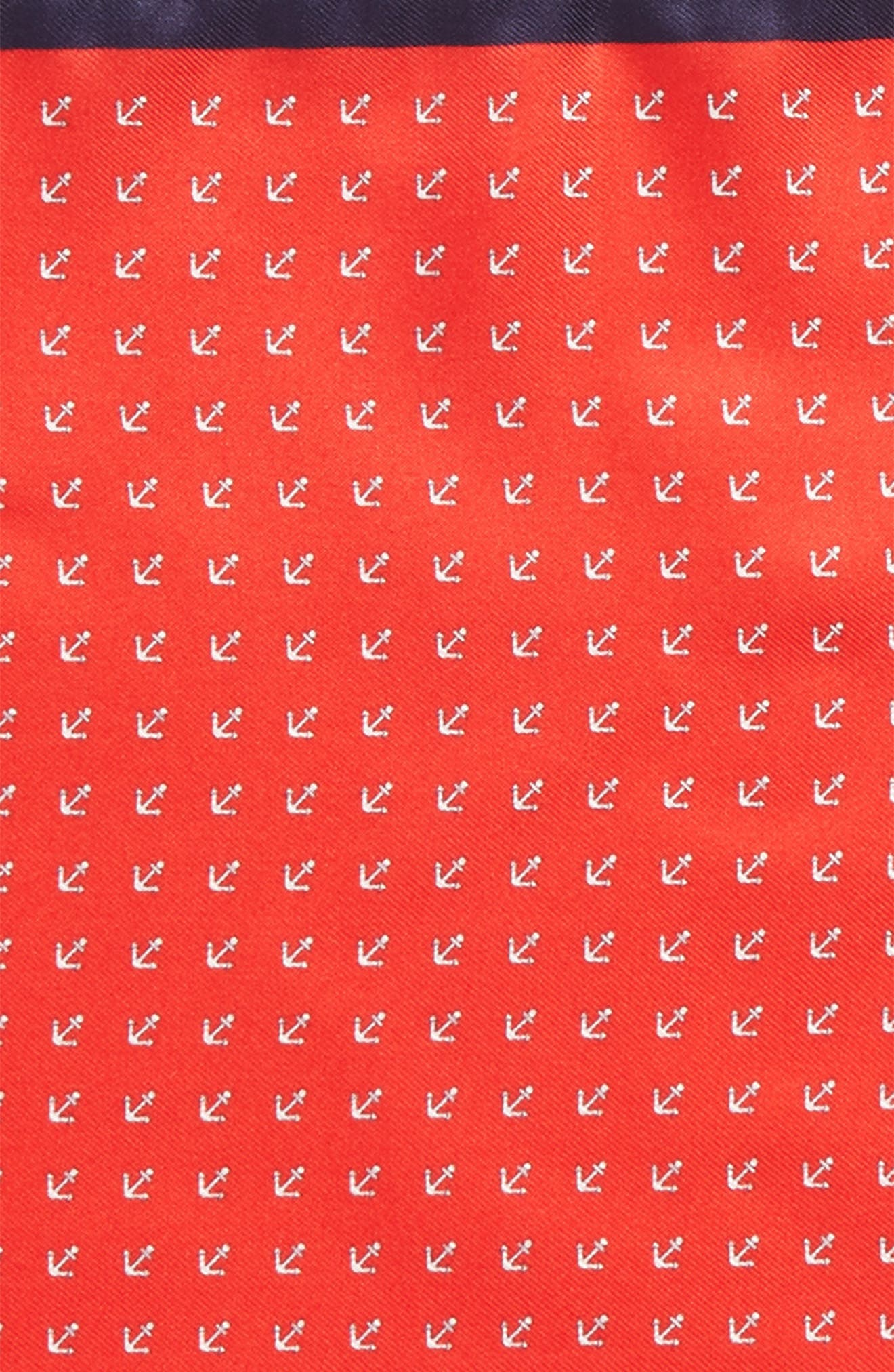 Anchorman Silk Pocket Square,                             Alternate thumbnail 3, color,                             NAVY/ RED